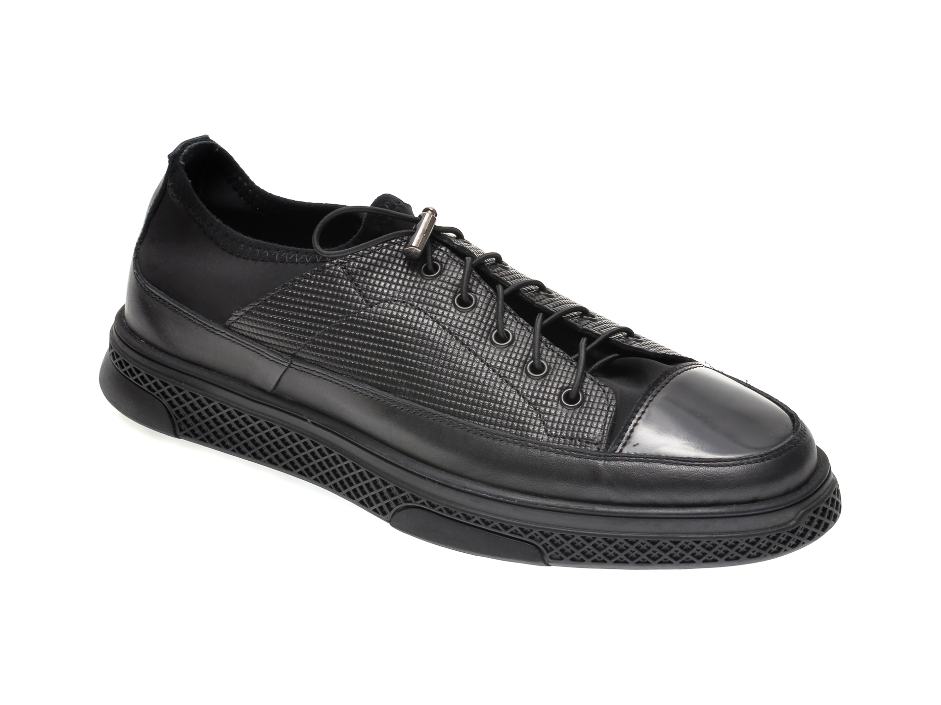 Pantofi OTTER negri, 6666, din material textil si piele naturala imagine
