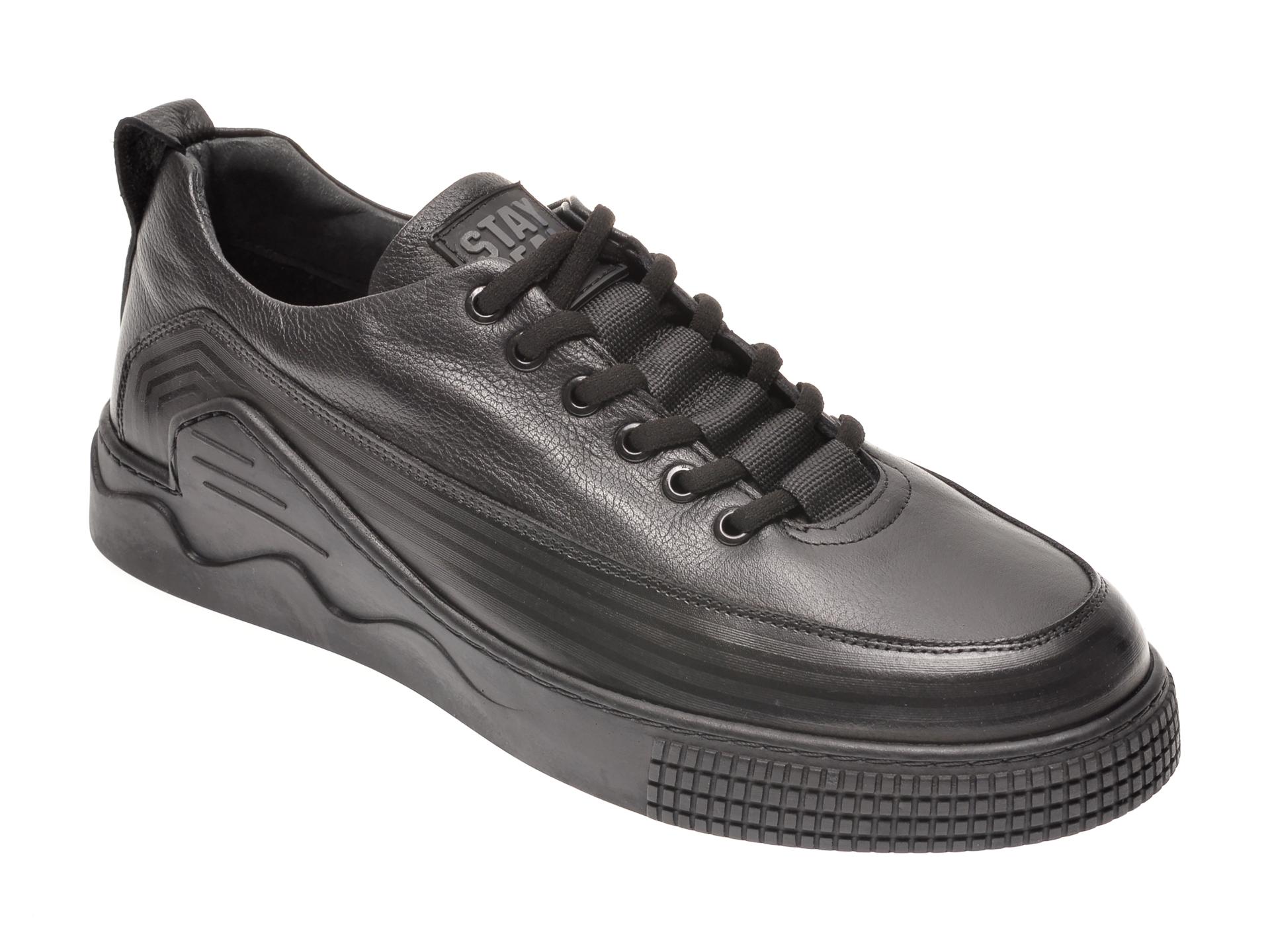 Pantofi OTTER negri, 66701, din piele naturala New