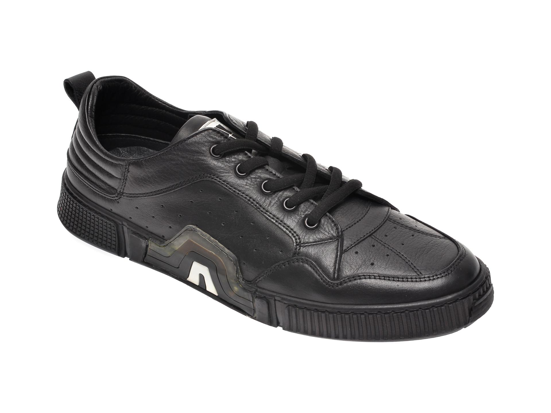 Pantofi OTTER negri, 72404, din piele naturala