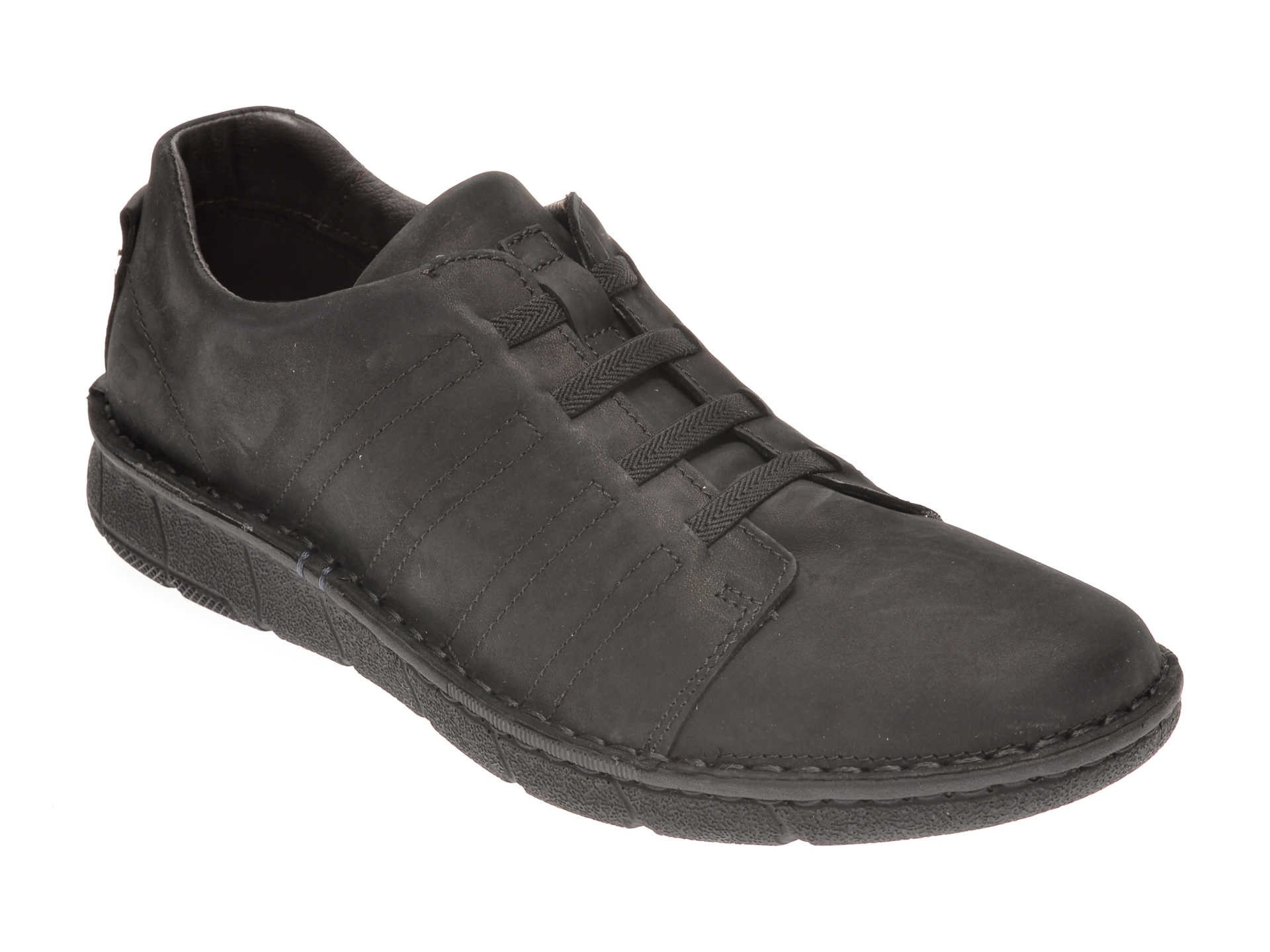 Pantofi OTTER negri, 7729, din nabuc imagine