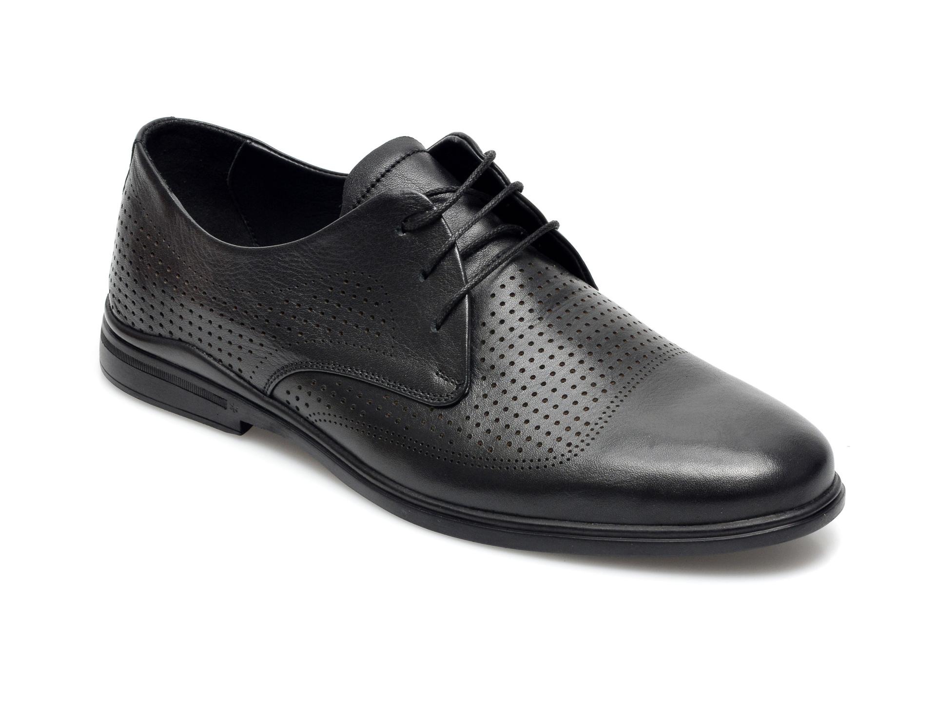 Pantofi OTTER negri, 77720, din piele naturala imagine