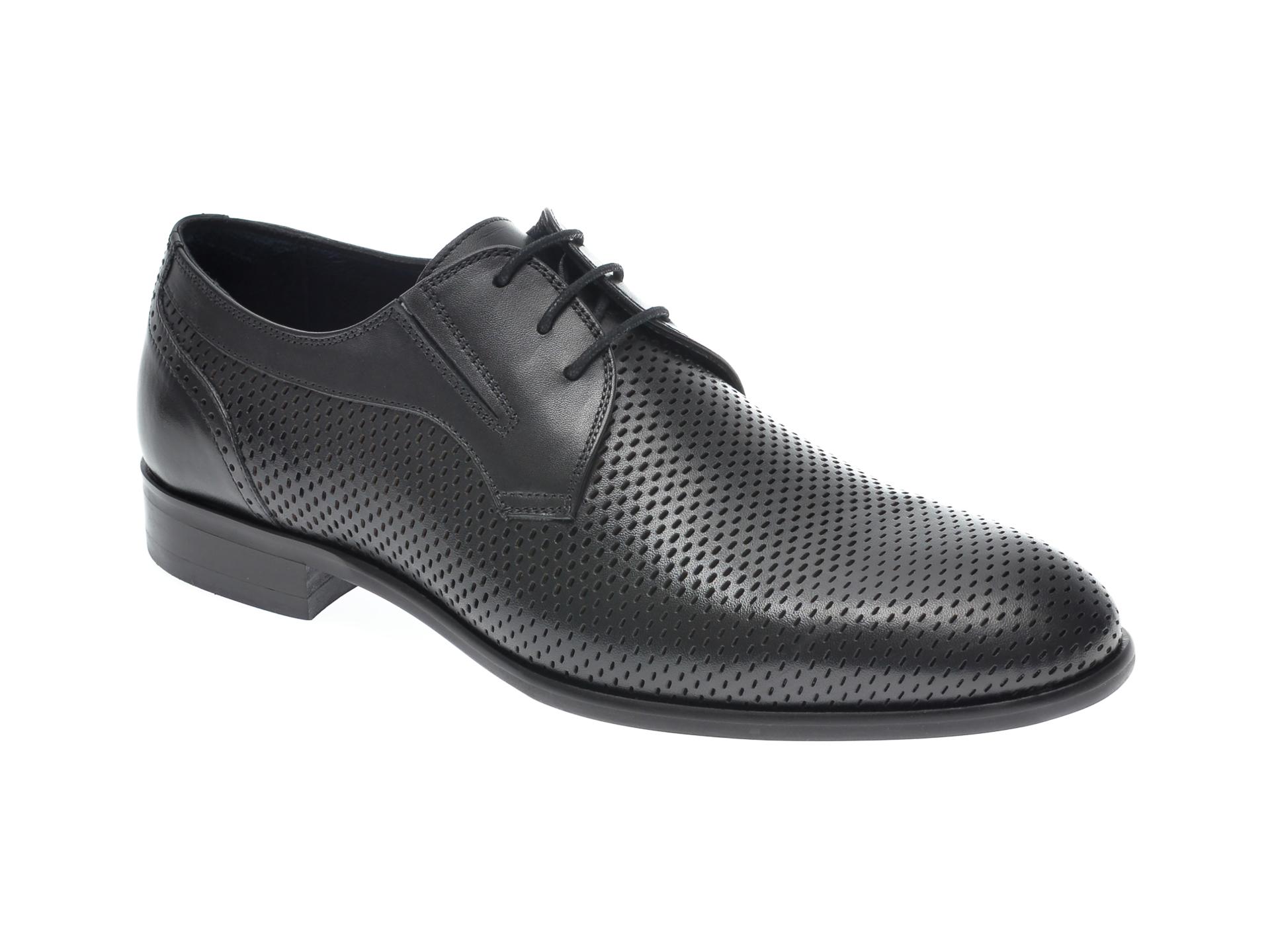 Pantofi OTTER negri, 7838, din piele naturala imagine