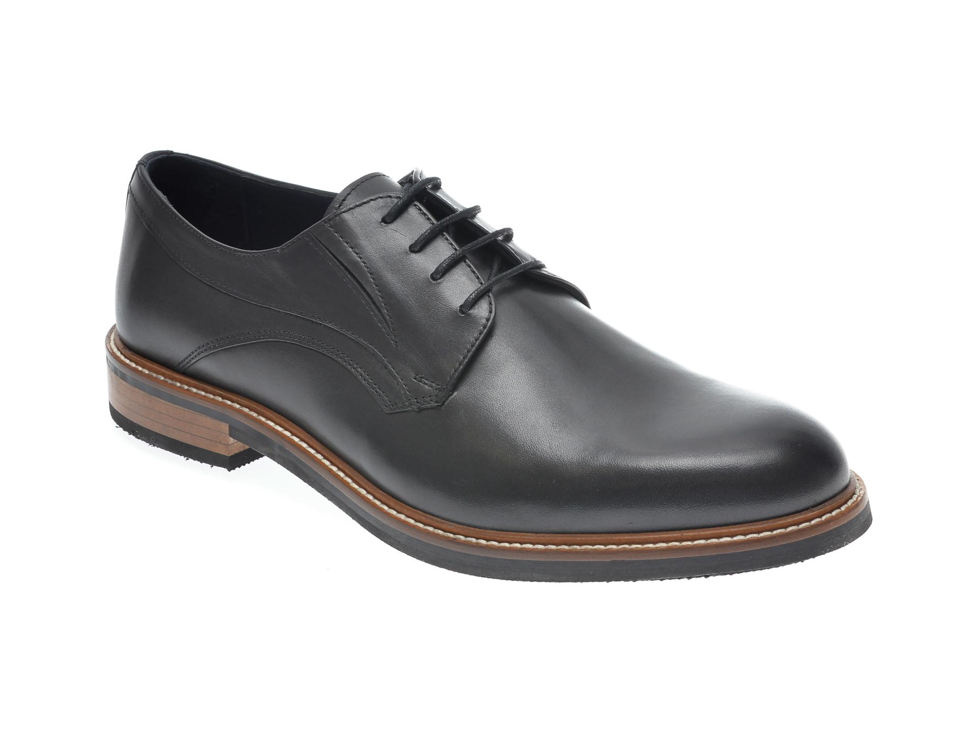 Pantofi OTTER negri, 7841, din piele naturala imagine