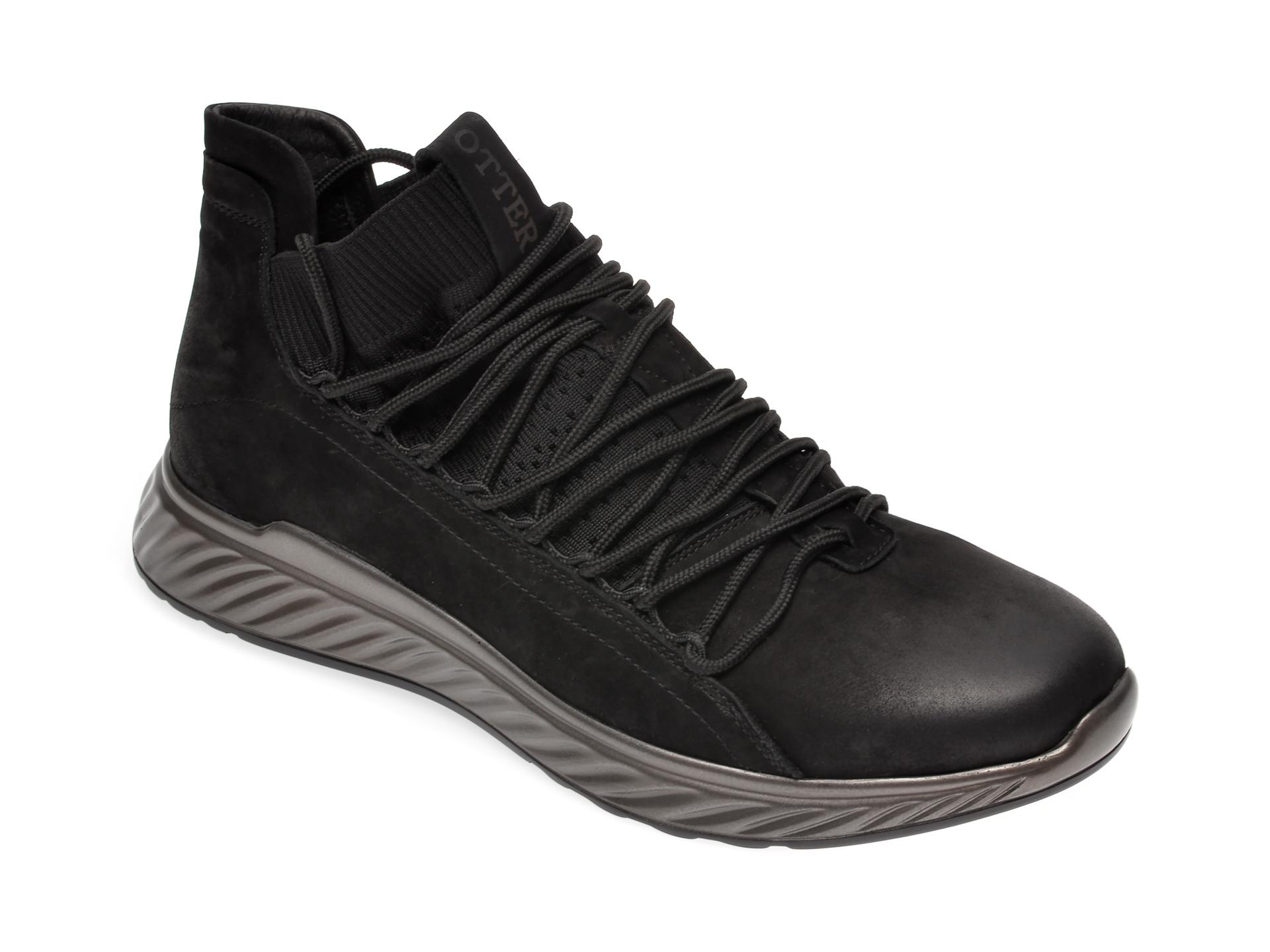 Pantofi OTTER negri, 7D90685, din piele ecologica si material textil imagine
