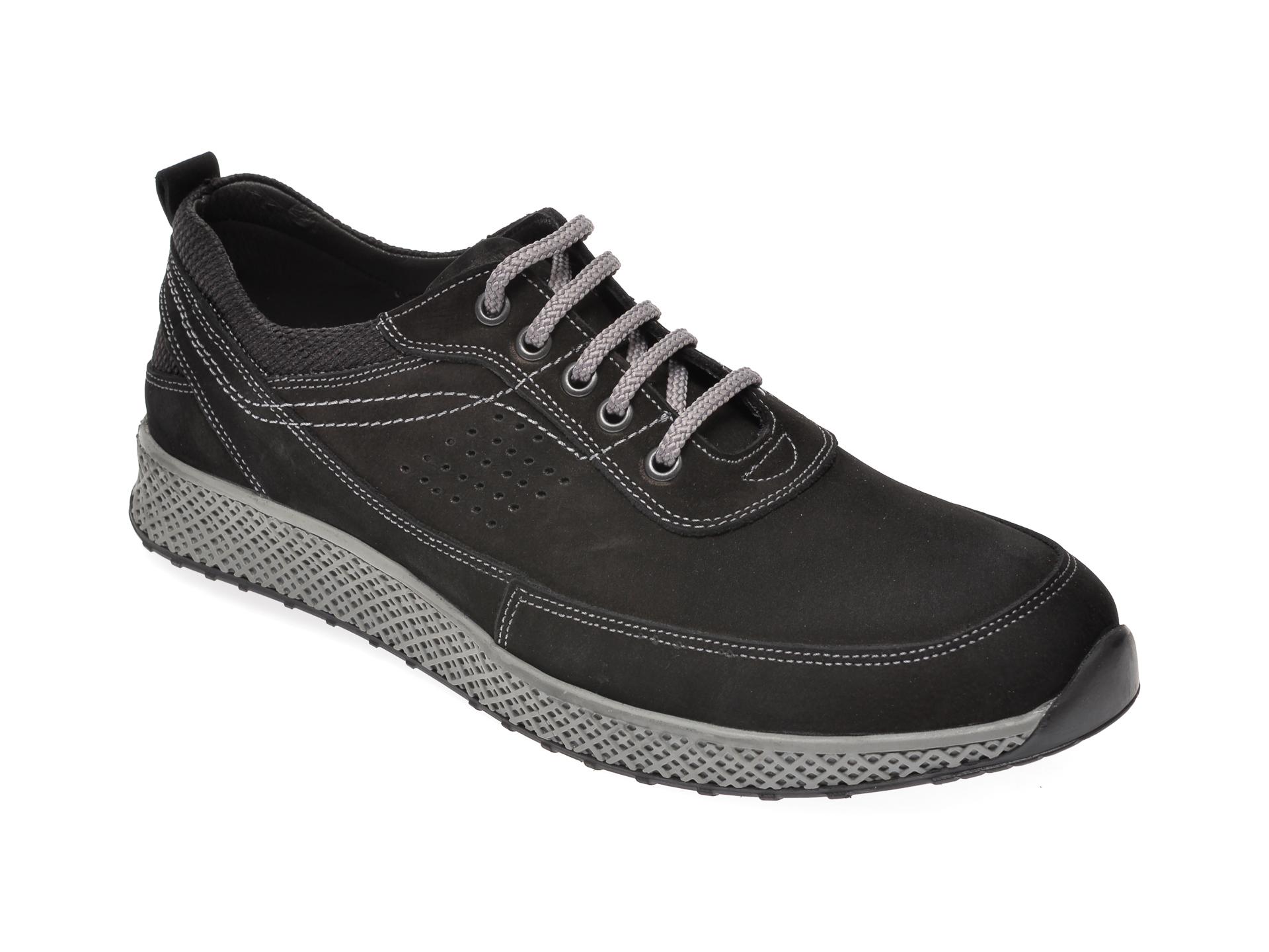 Pantofi OTTER negri, 915281, din nabuc