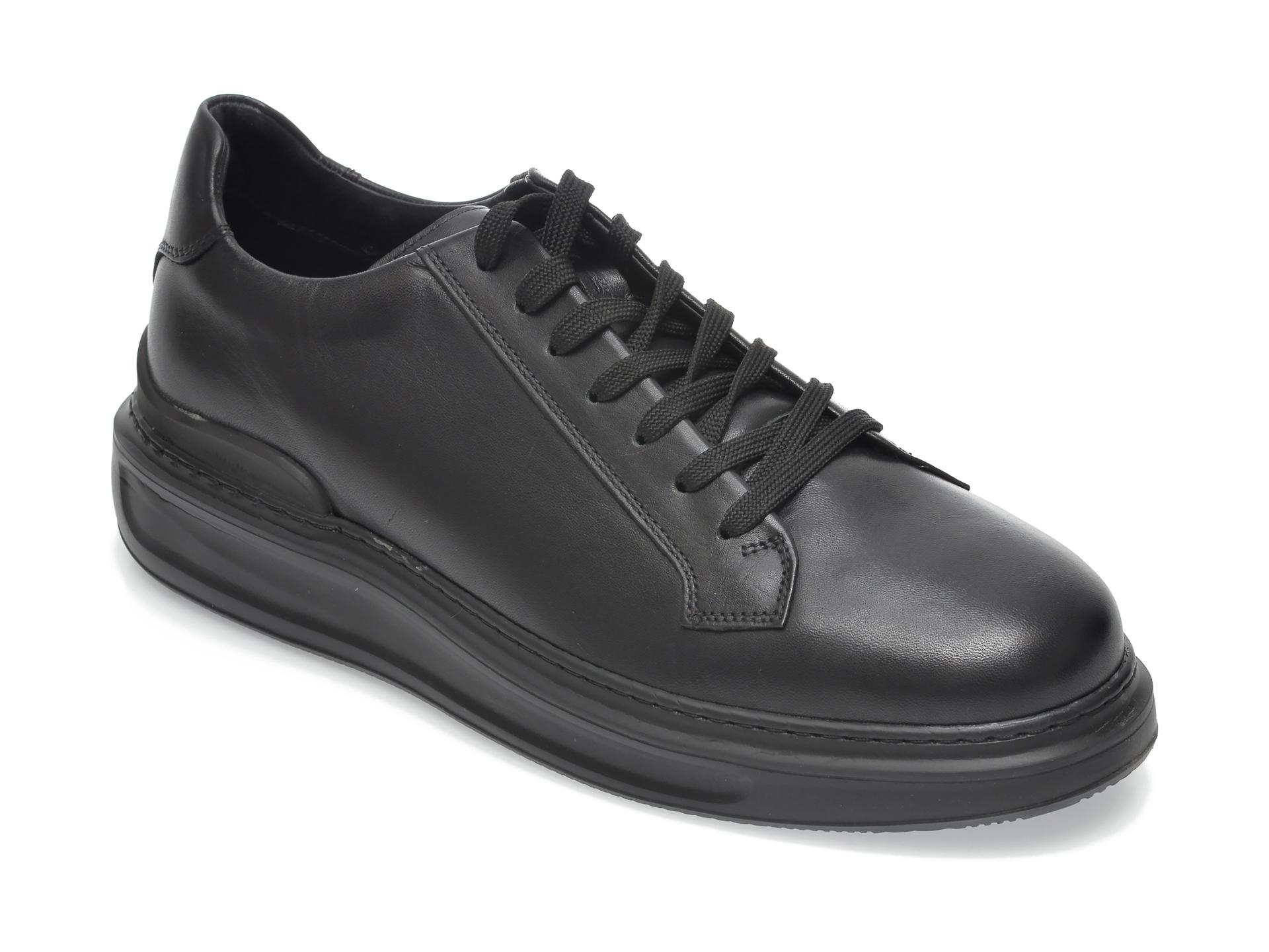 Pantofi OTTER negri, 9155, din piele naturala imagine