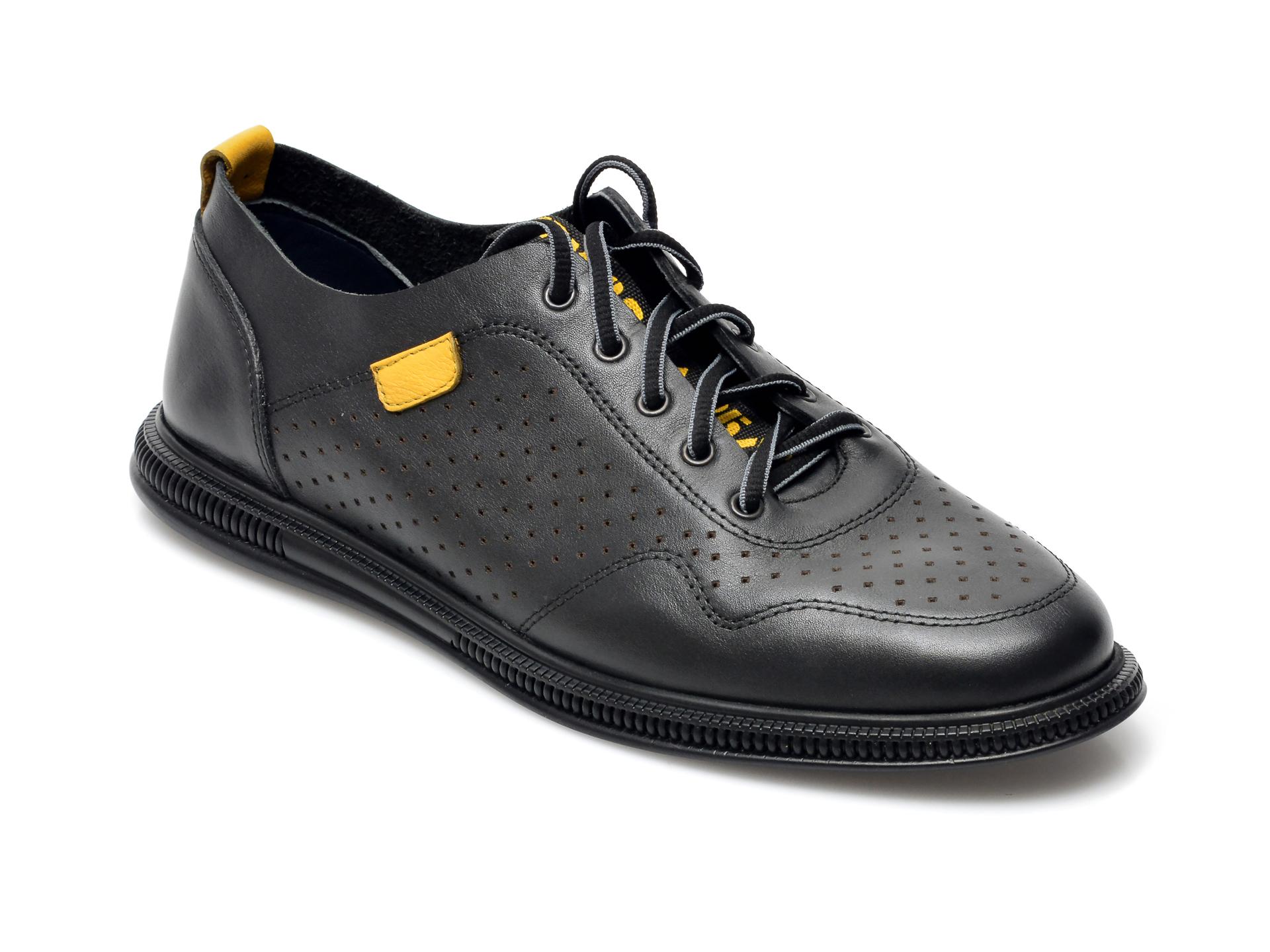 Pantofi OTTER negri, 925, din piele naturala imagine otter.ro 2021