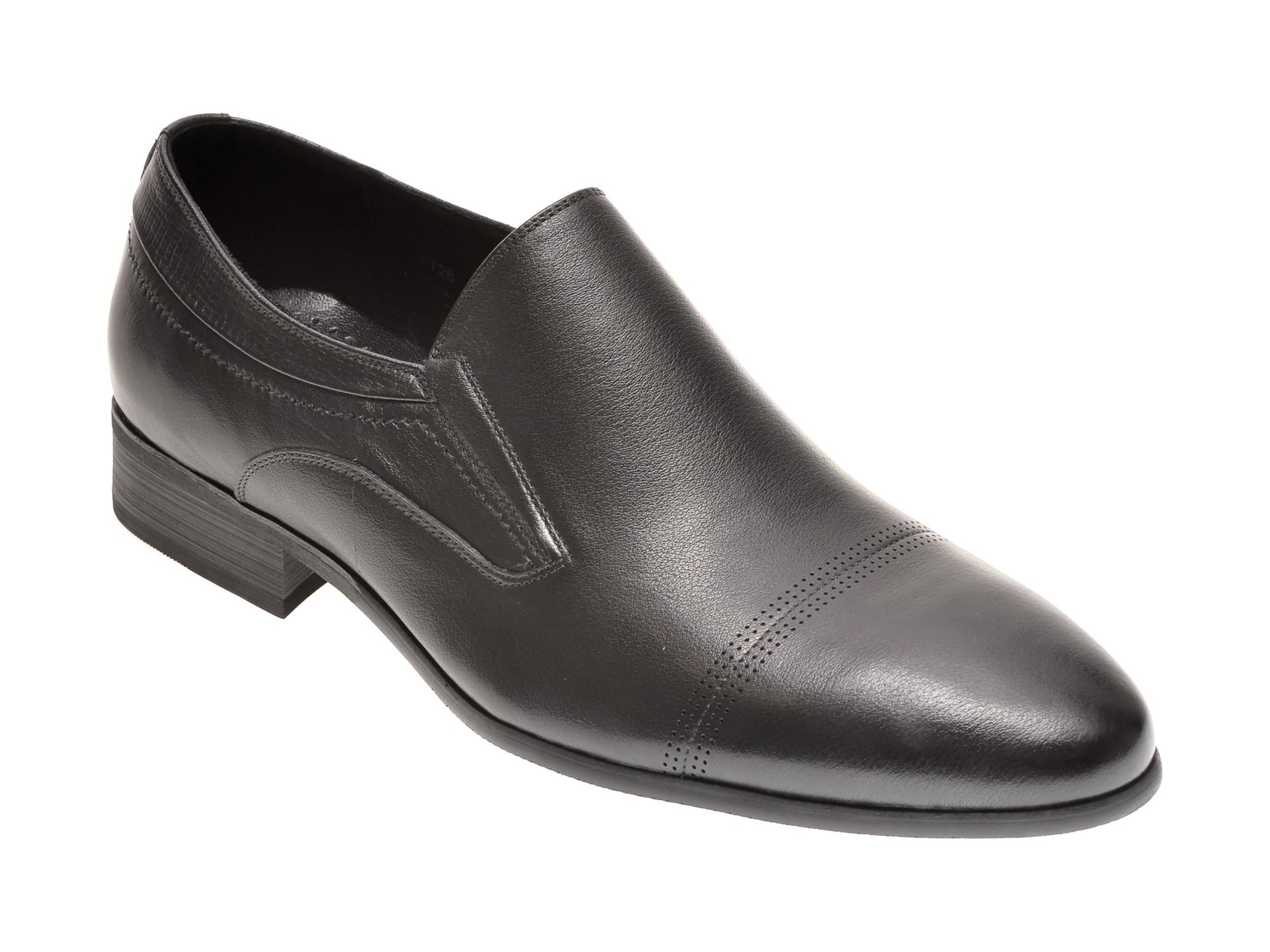 Pantofi OTTER negri, A726, din piele naturala imagine