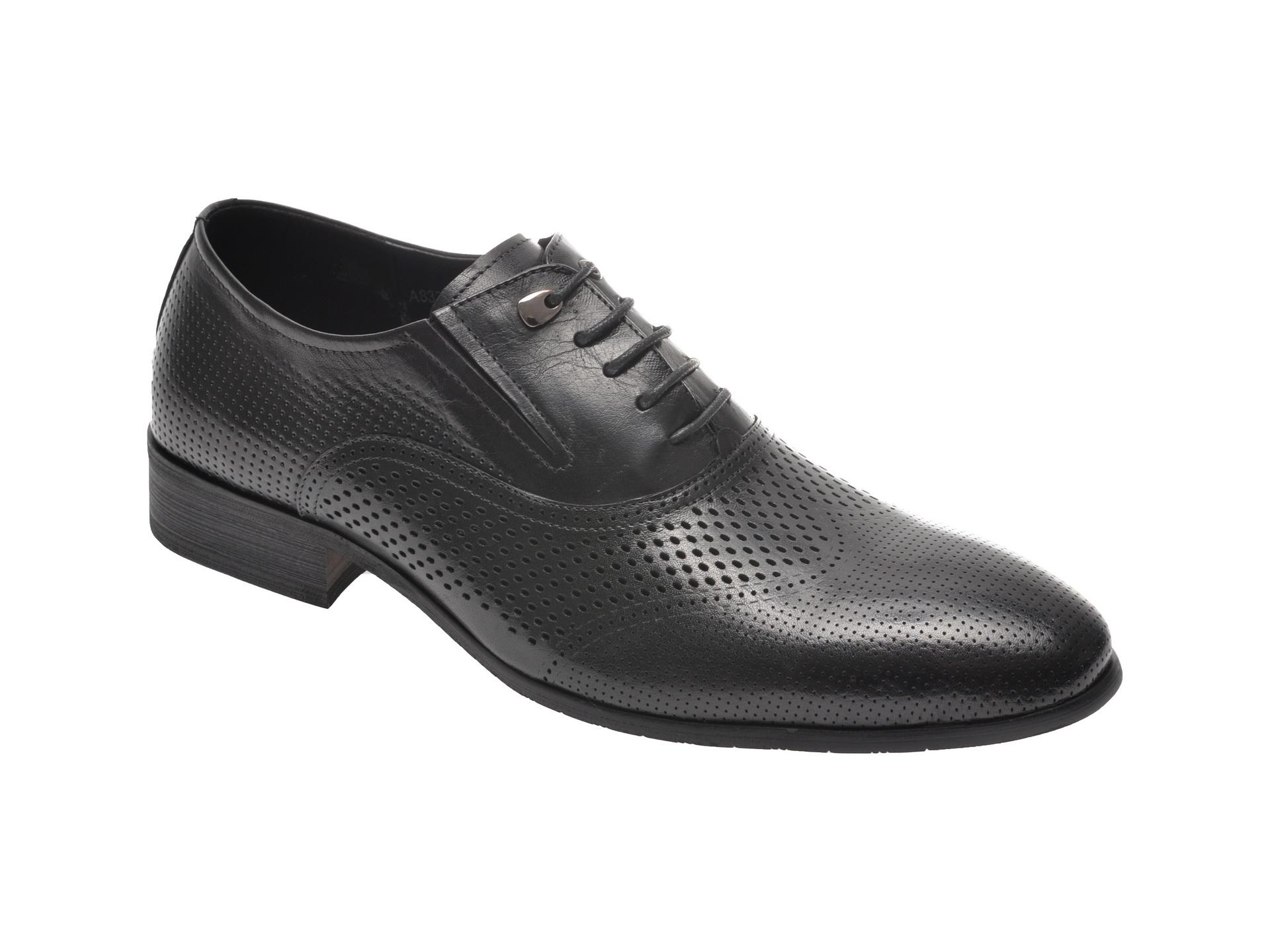 Pantofi OTTER negri, A833001, din piele naturala imagine