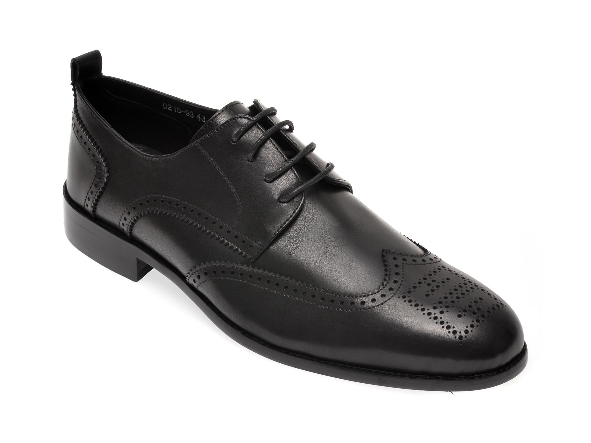 Pantofi OTTER negri, D21593, din piele naturala imagine
