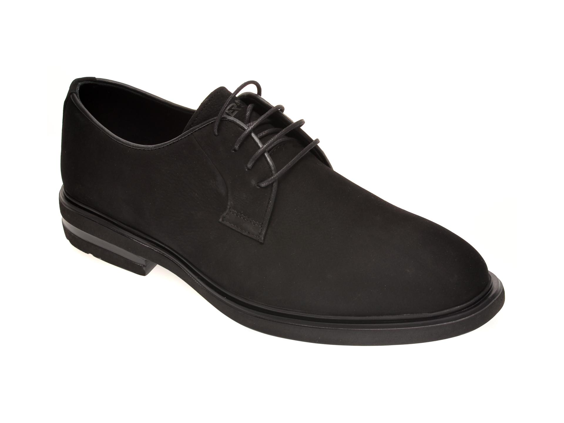 Pantofi OTTER negri, E1801, din nabuc imagine