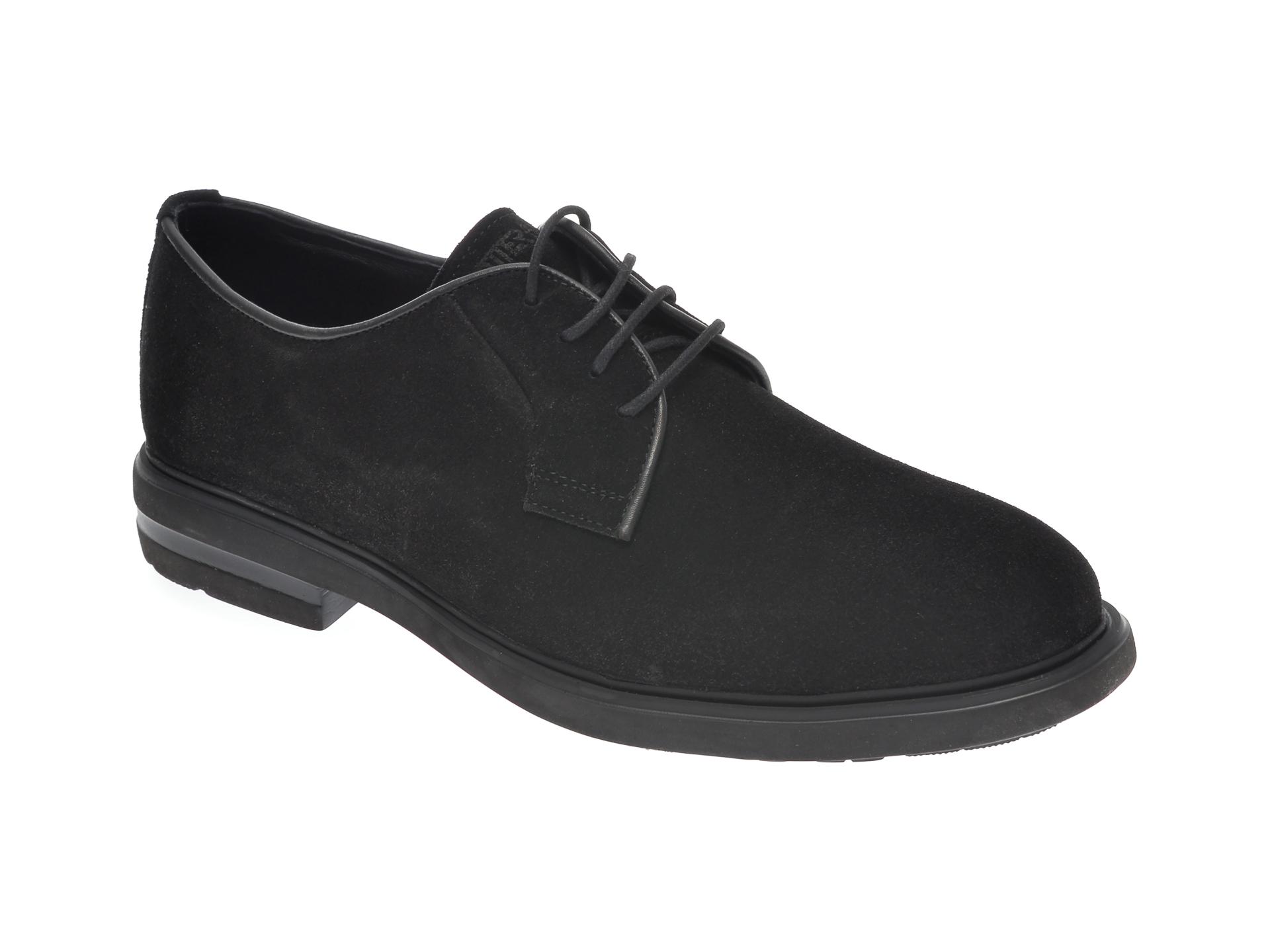 Pantofi OTTER negri, E1801, din piele intoarsa imagine