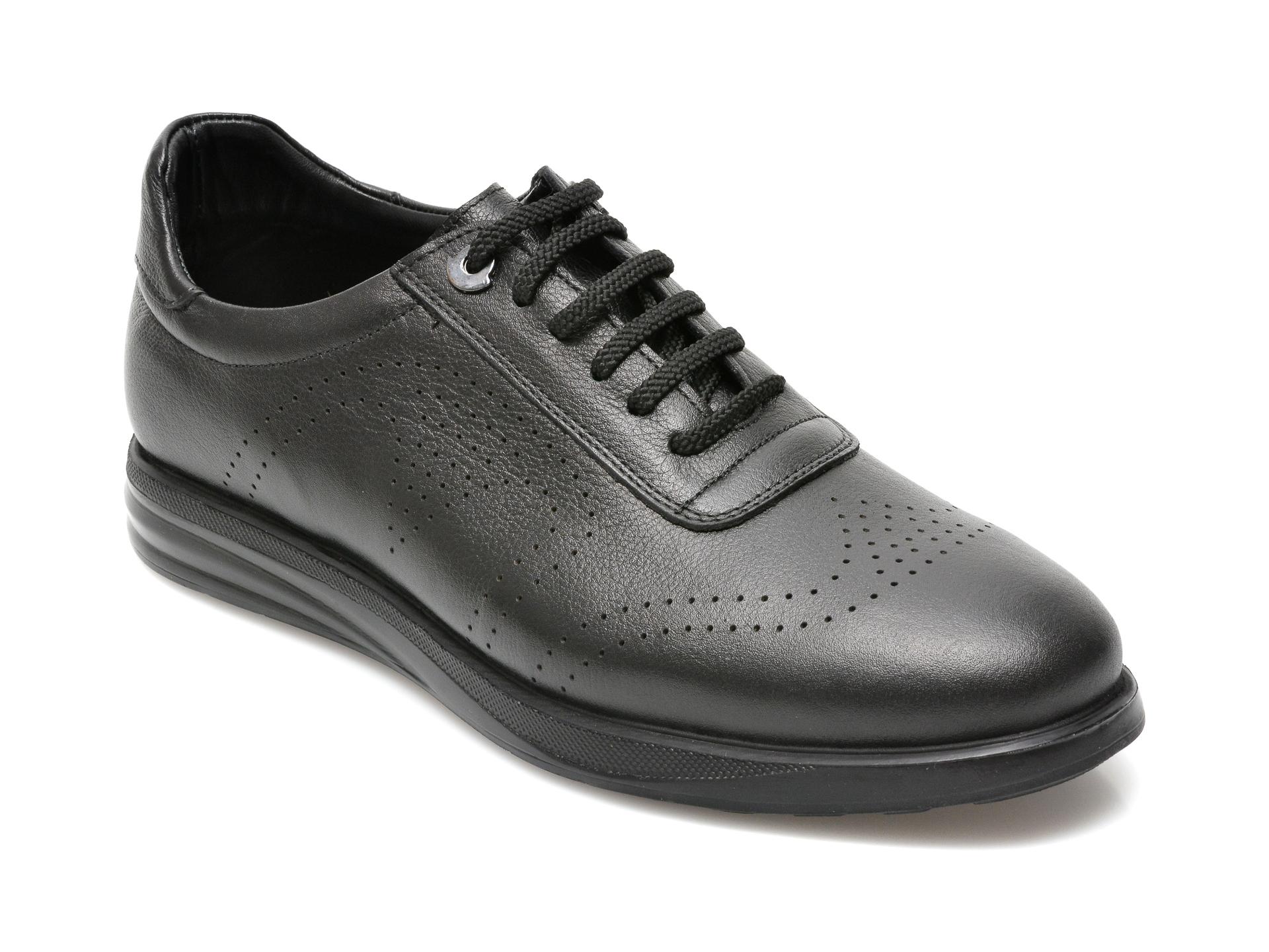 Pantofi OTTER negri, E881, din piele naturala imagine
