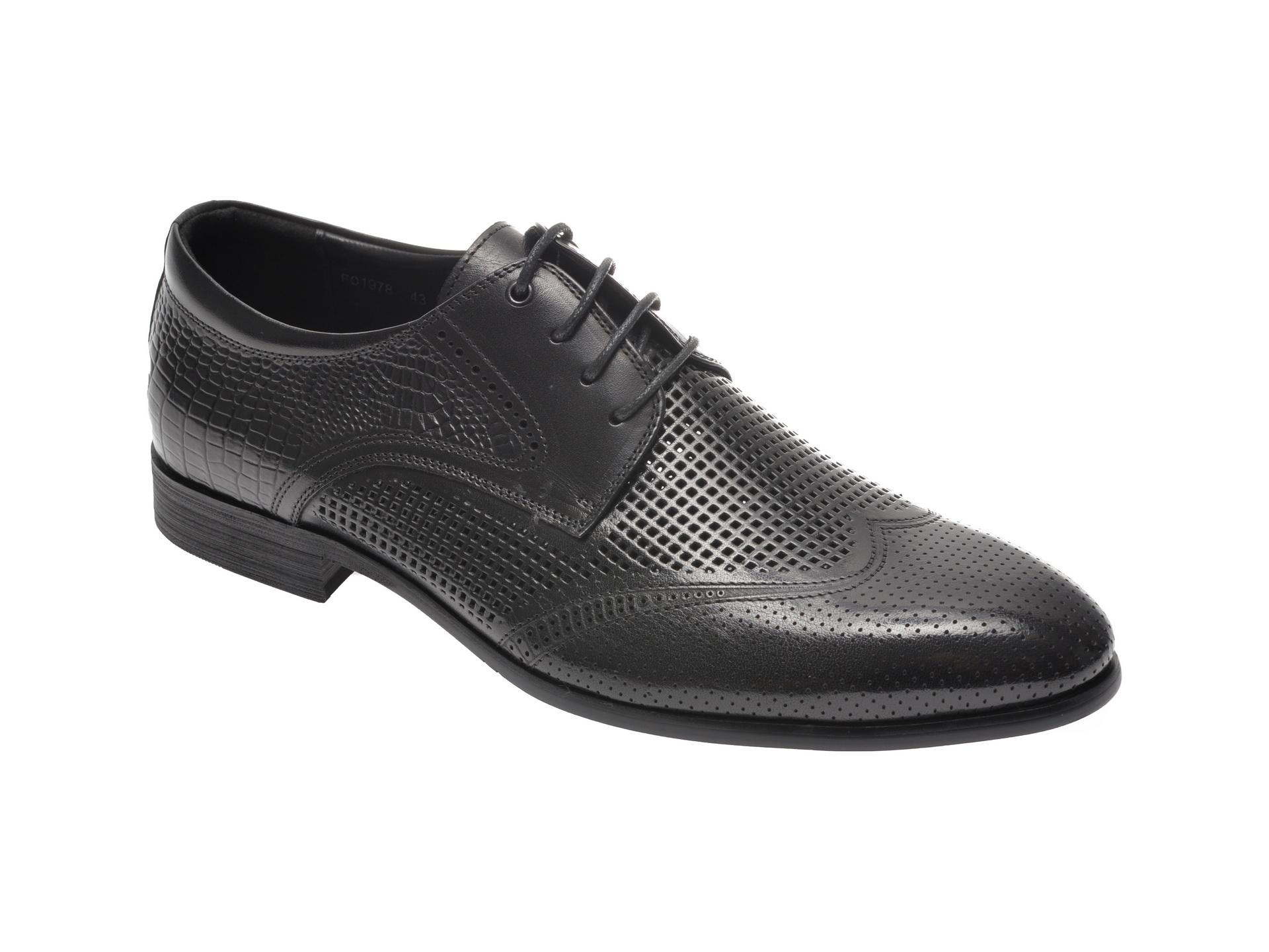 Pantofi OTTER negri, F01978, din piele naturala imagine