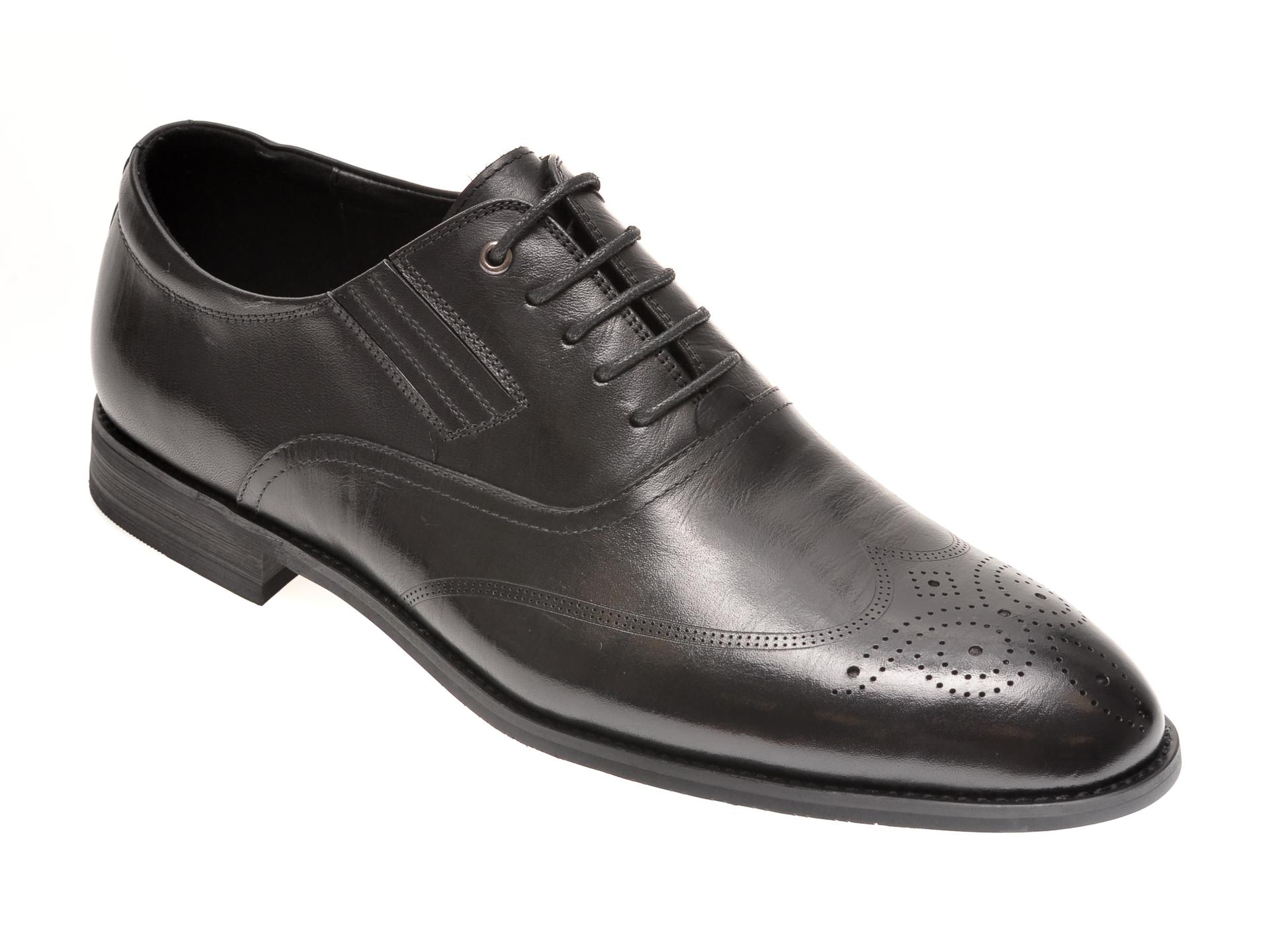 Pantofi OTTER negri, F6063, din piele naturala imagine