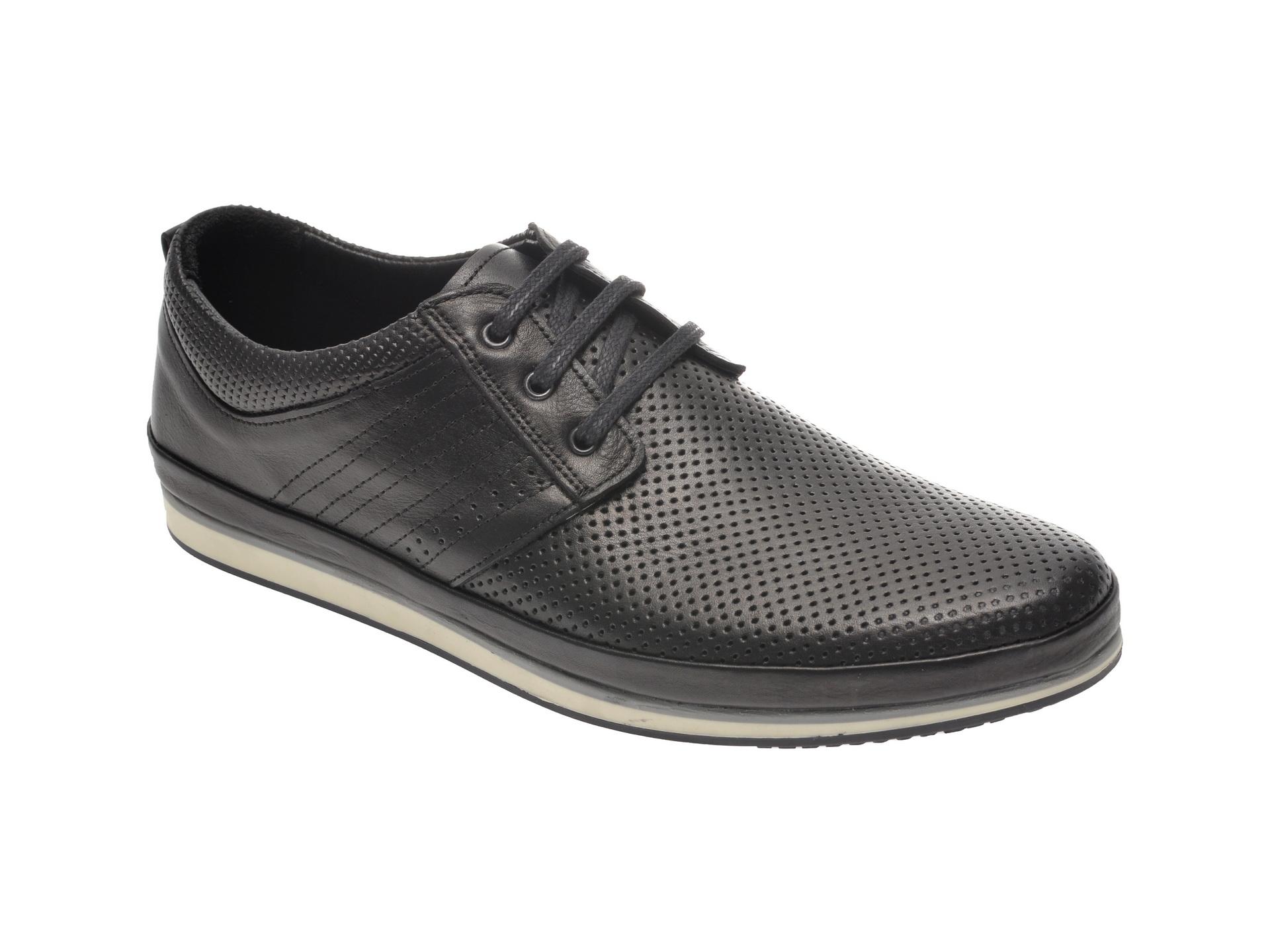 Pantofi OTTER negri, M4409, din piele naturala imagine