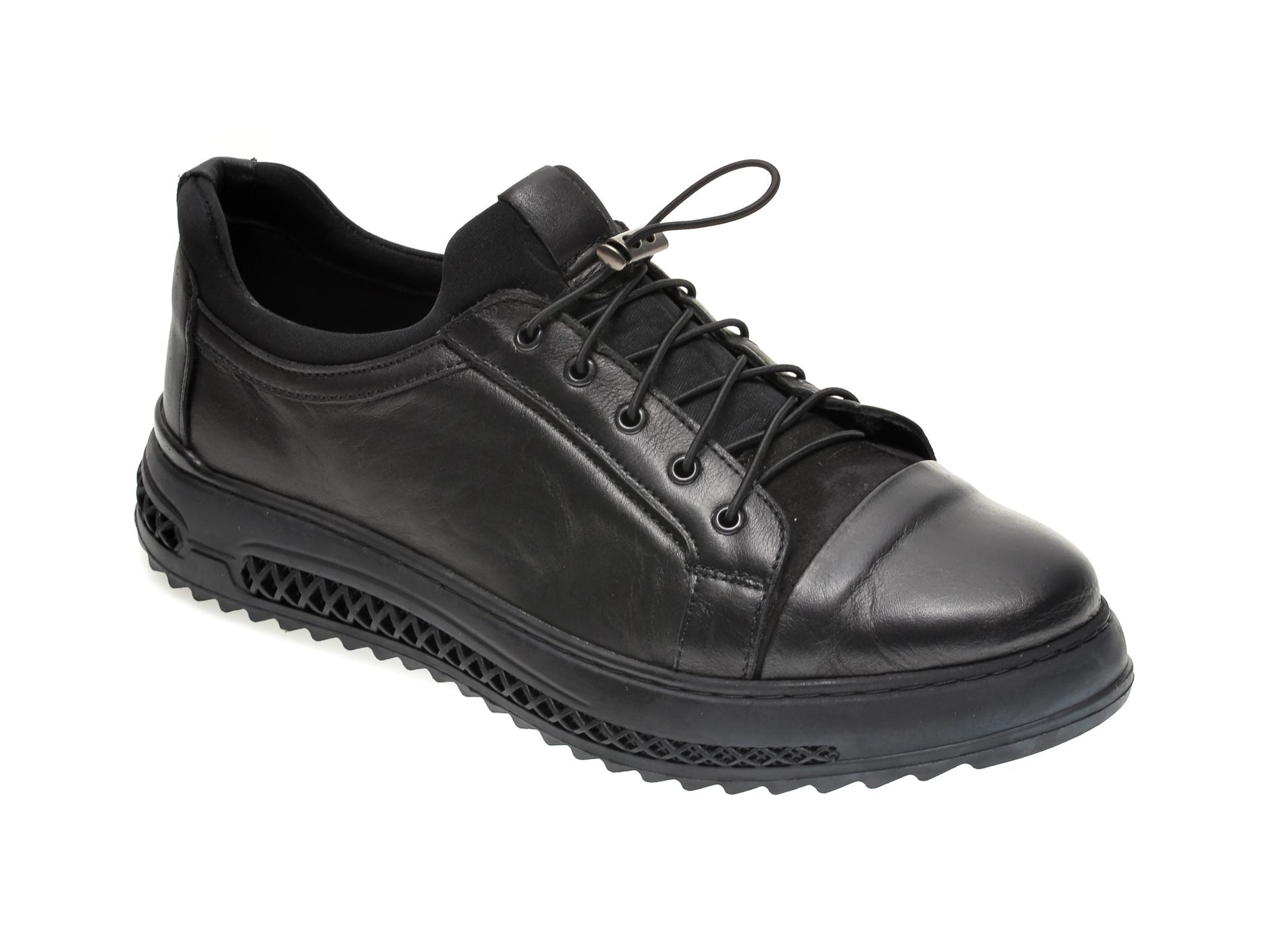 Pantofi OTTER negri, M5373, din piele naturala imagine otter.ro