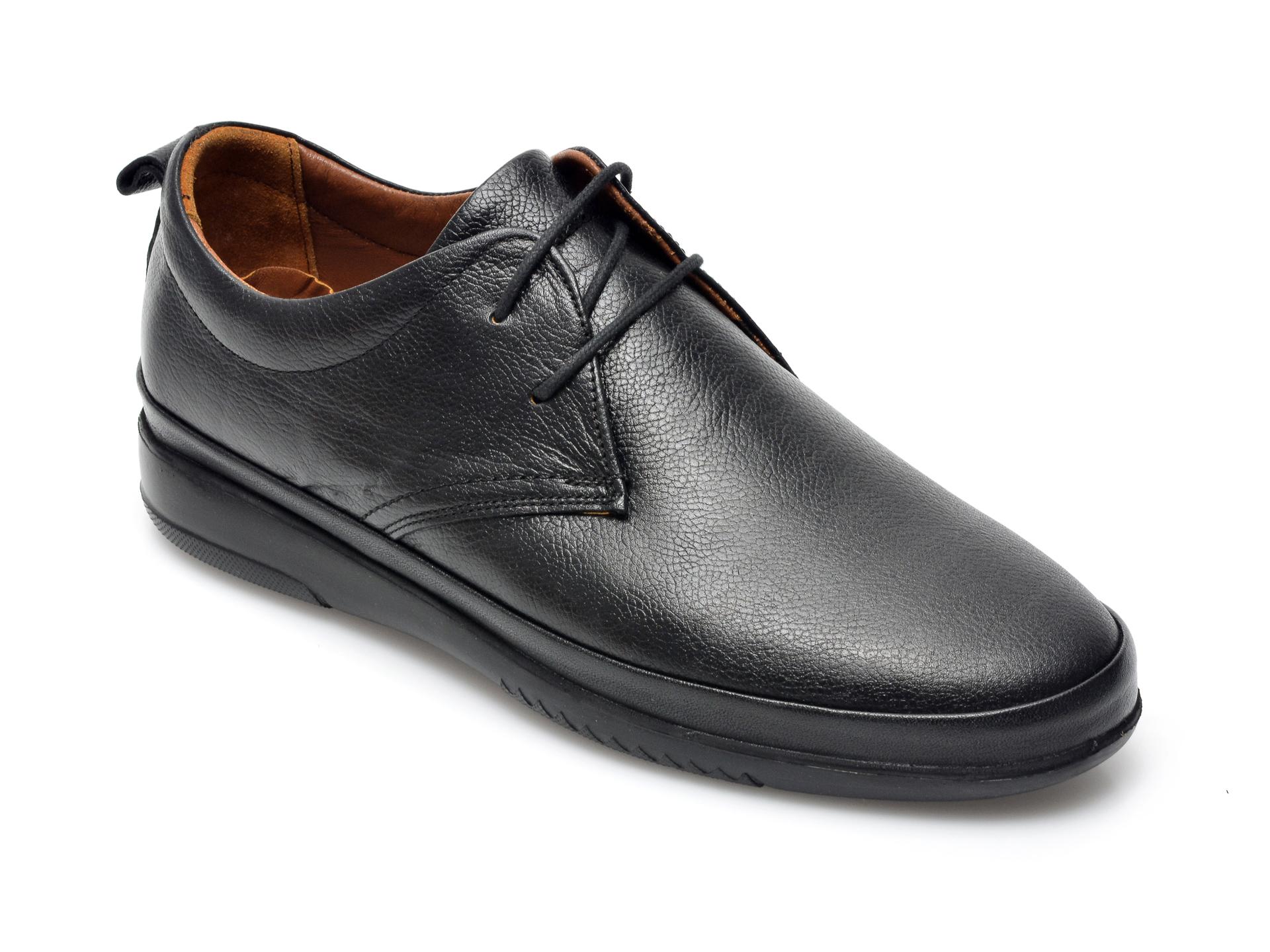 Pantofi OTTER negri, M5380, din piele naturala imagine otter.ro