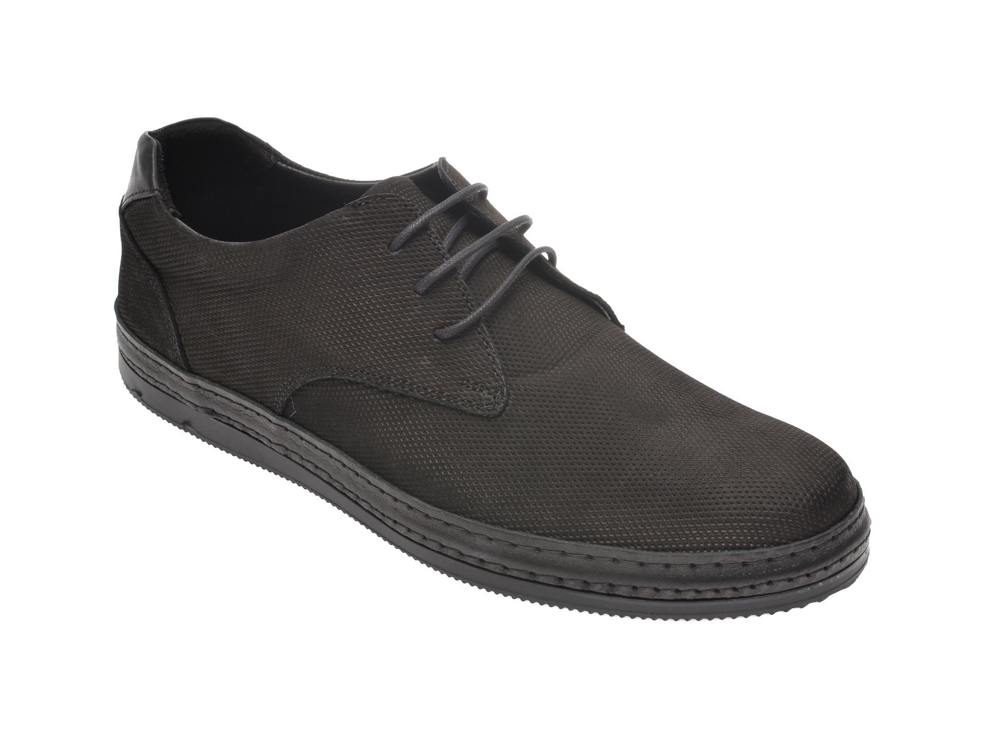 Pantofi OTTER negri, M5511, din nabuc
