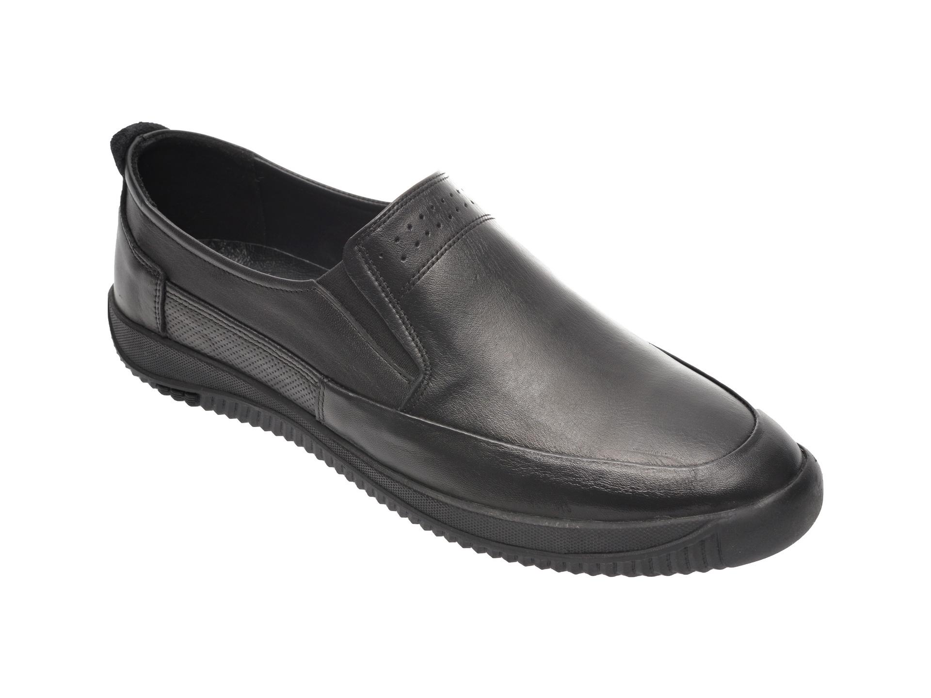 Pantofi OTTER negri, M5540, din piele naturala imagine