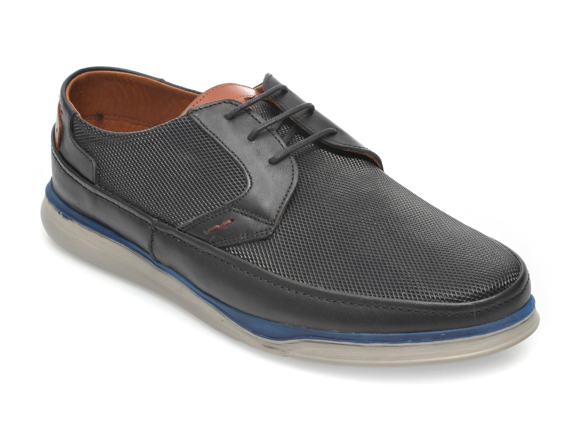 Pantofi OTTER negri, M5547, din piele naturala New