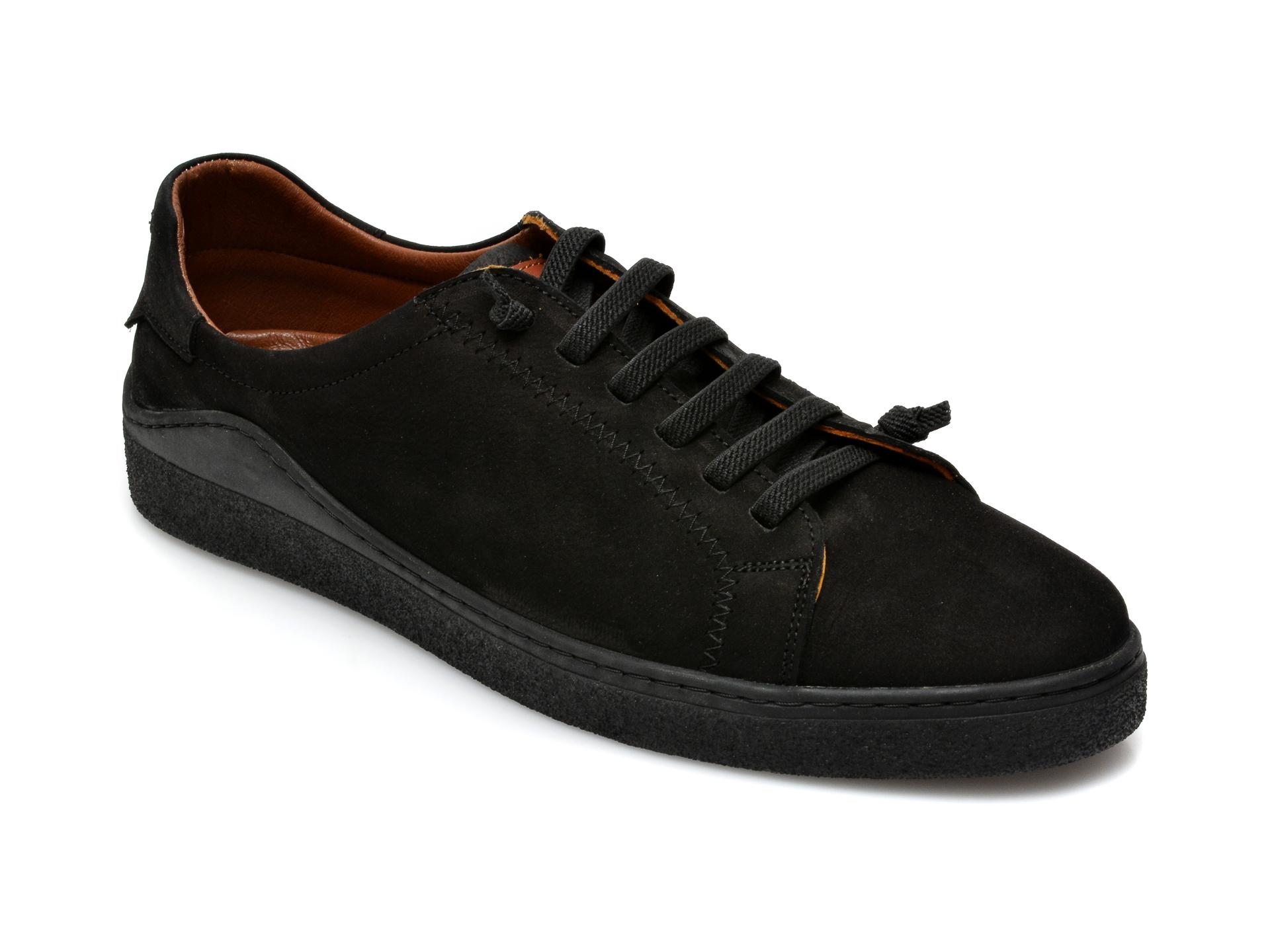 Pantofi OTTER negri, M5607, din nabuc imagine otter.ro 2021