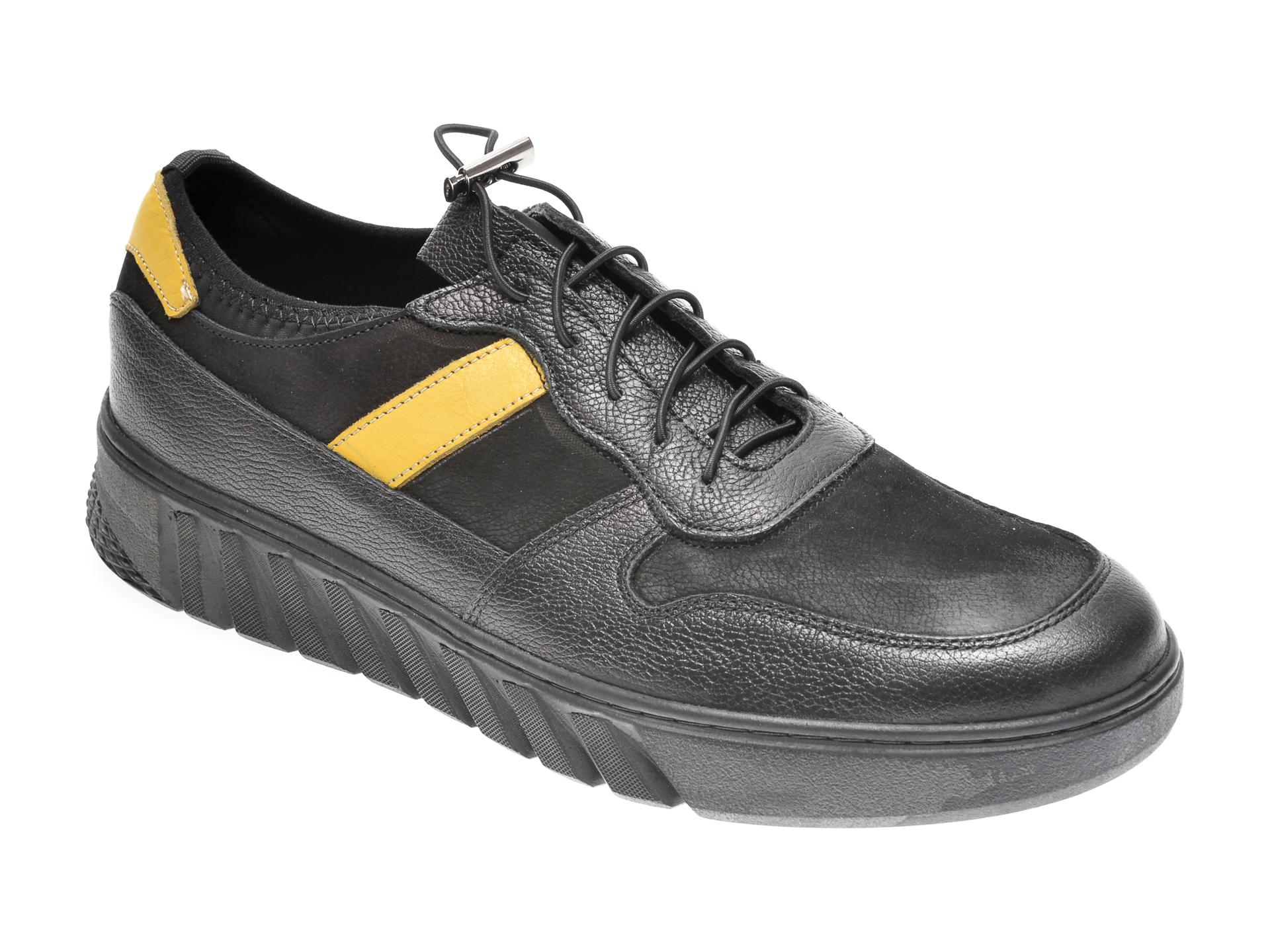 Pantofi OTTER negri, M5714, din piele naturala imagine