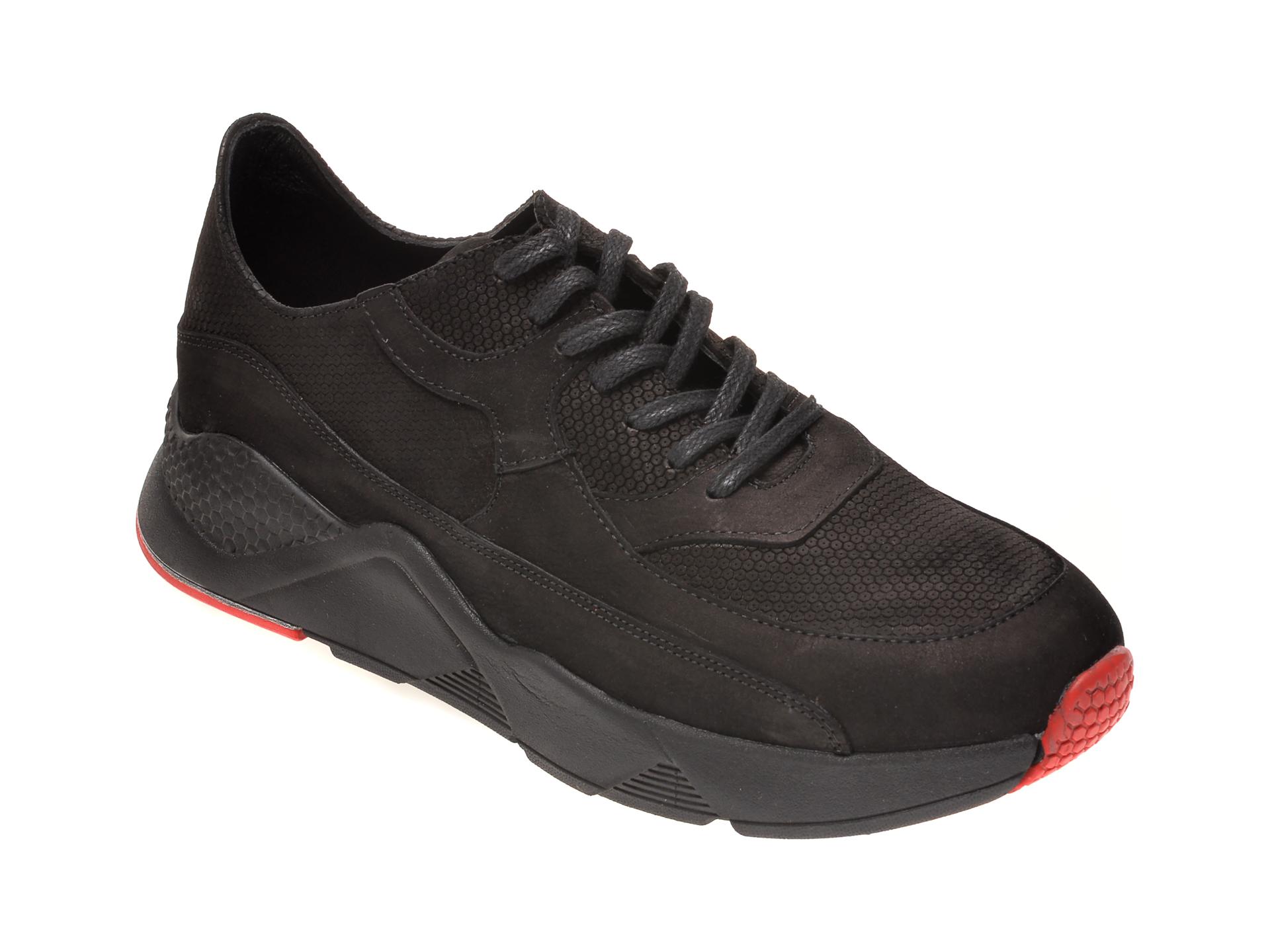 Pantofi OTTER negri, M5731, din piele intoarsa New