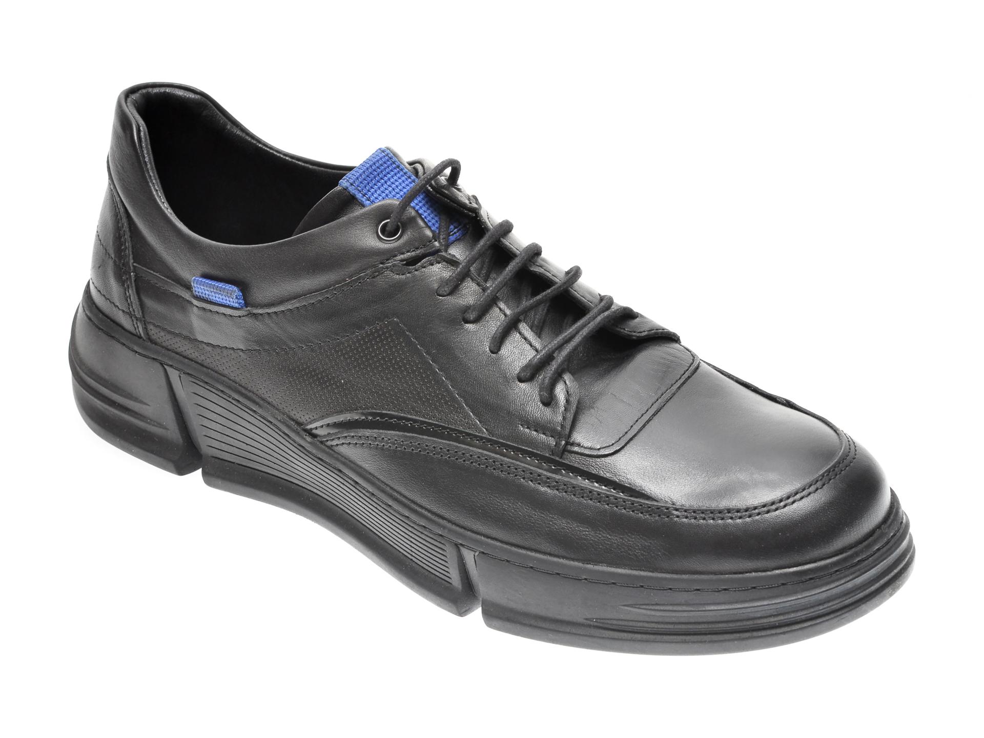 Pantofi OTTER negri, M5734, din piele naturala imagine