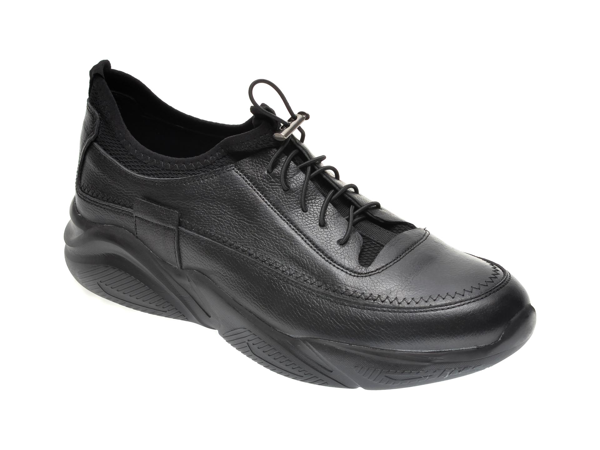 Pantofi OTTER negri, M5735, din material textil si piele naturala