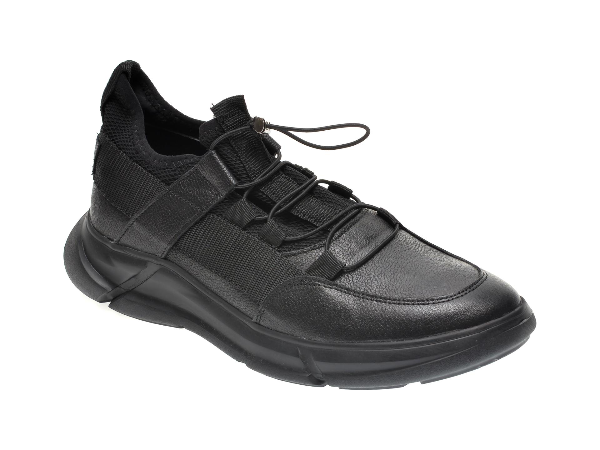 Pantofi OTTER negri, M5737, din material textil si piele naturala imagine
