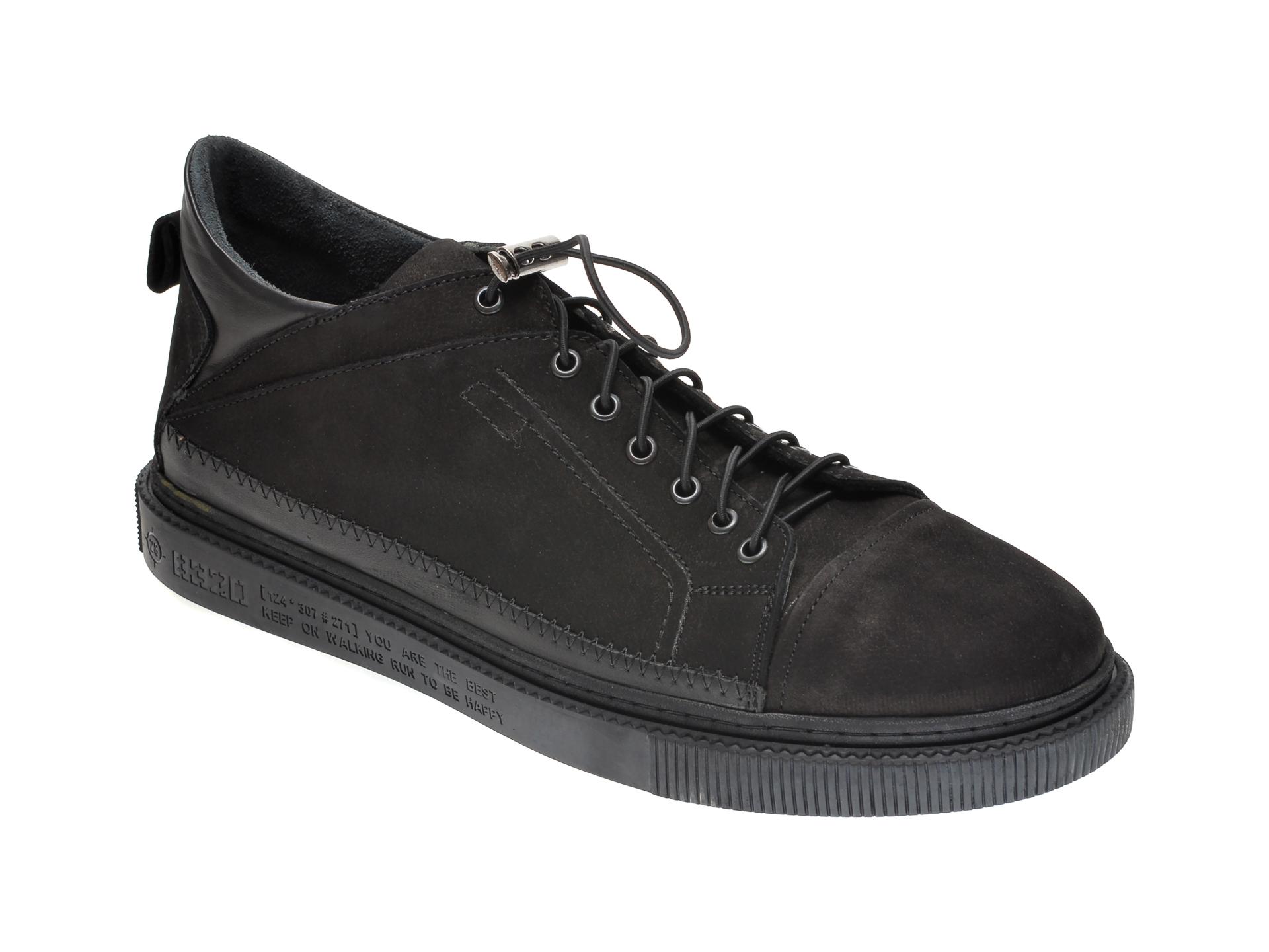 Pantofi OTTER negri, M5746, din nabuc imagine