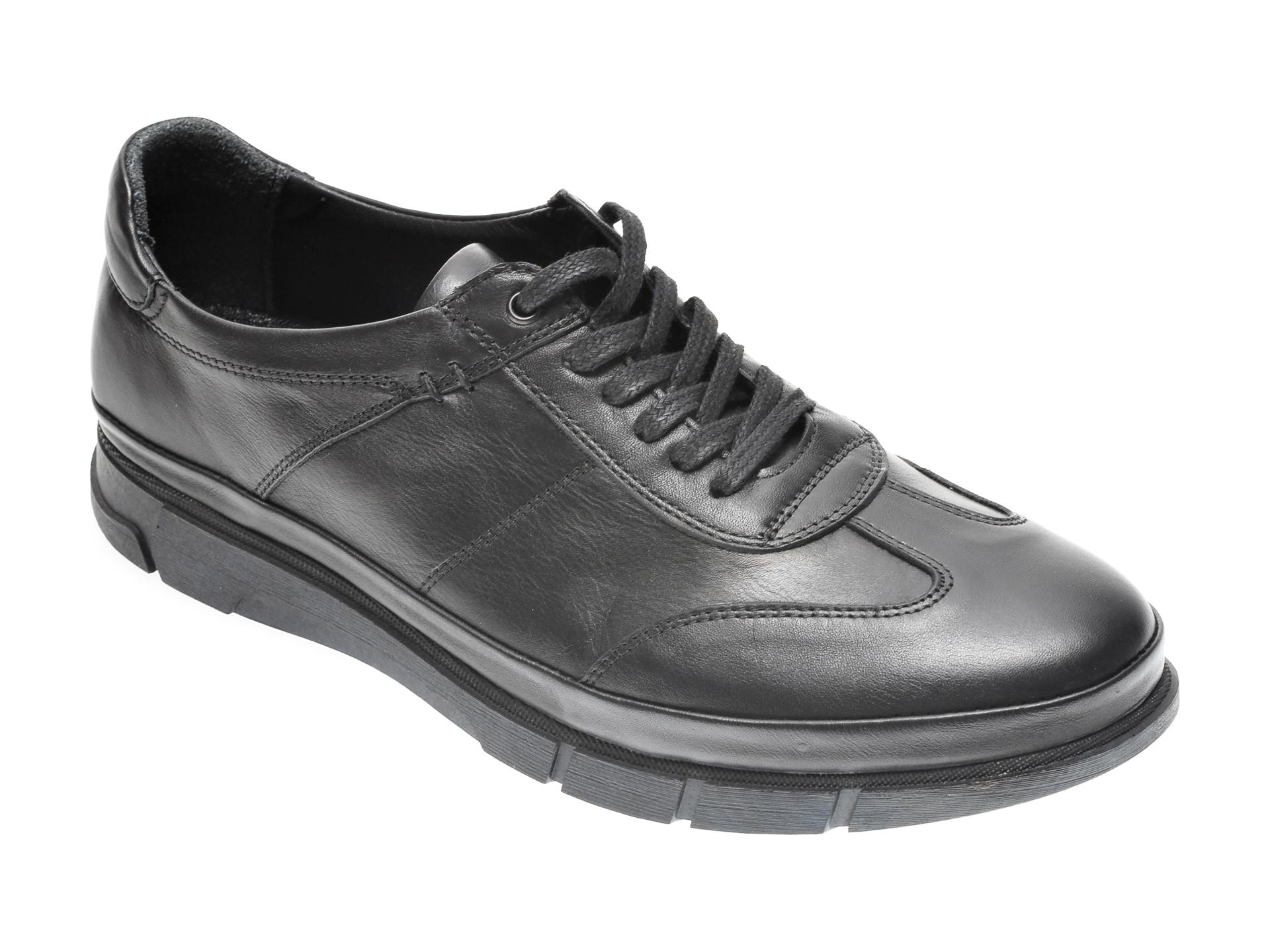 Pantofi OTTER negri, M5749, din piele naturala imagine