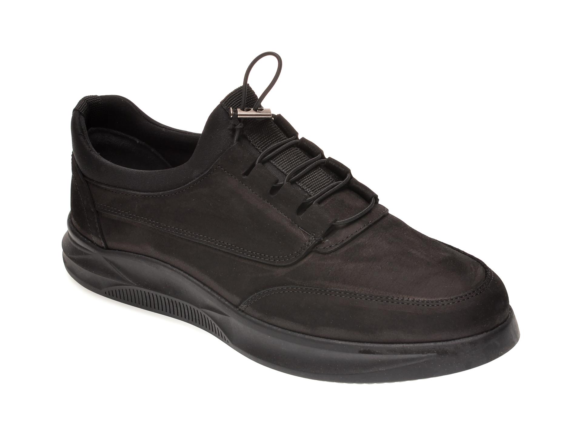 Pantofi OTTER negri, M5790, din nabuc imagine