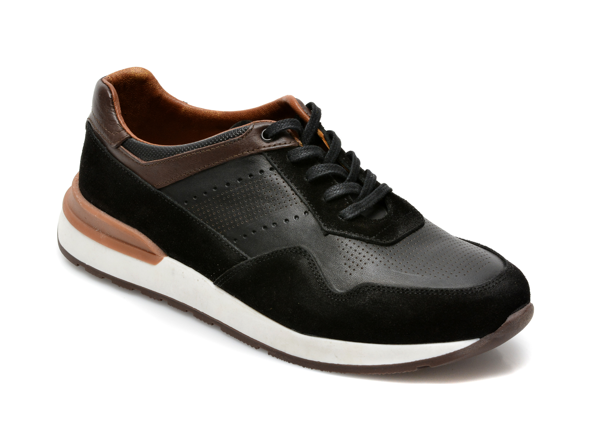 Pantofi OTTER negri, M6039, din piele naturala