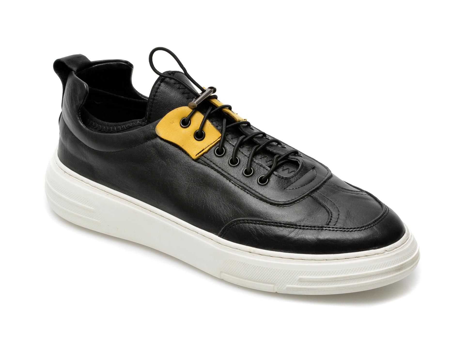Pantofi OTTER negri, M6050, din piele naturala imagine otter.ro 2021
