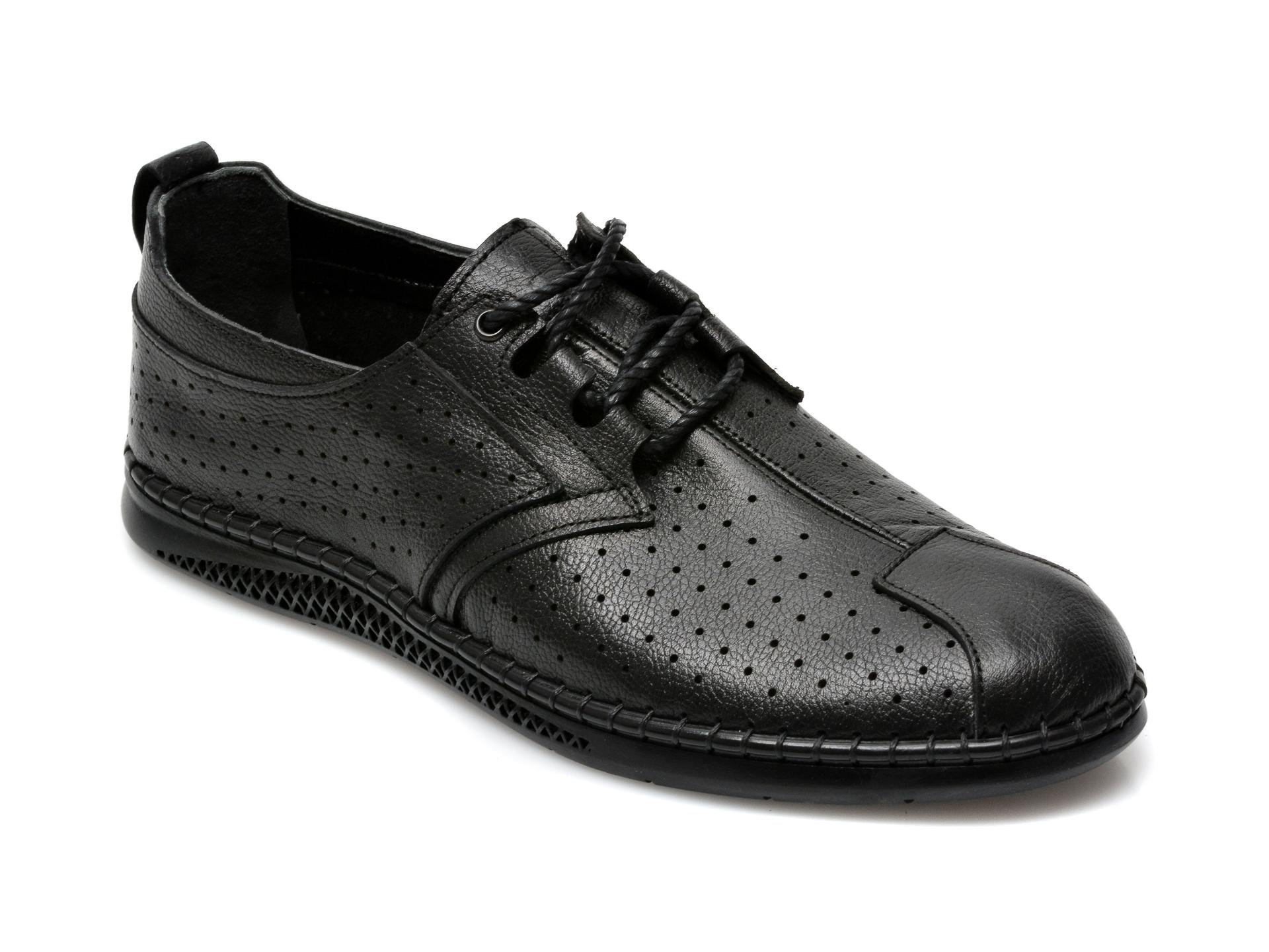 Pantofi OTTER negri, M6058, din piele naturala