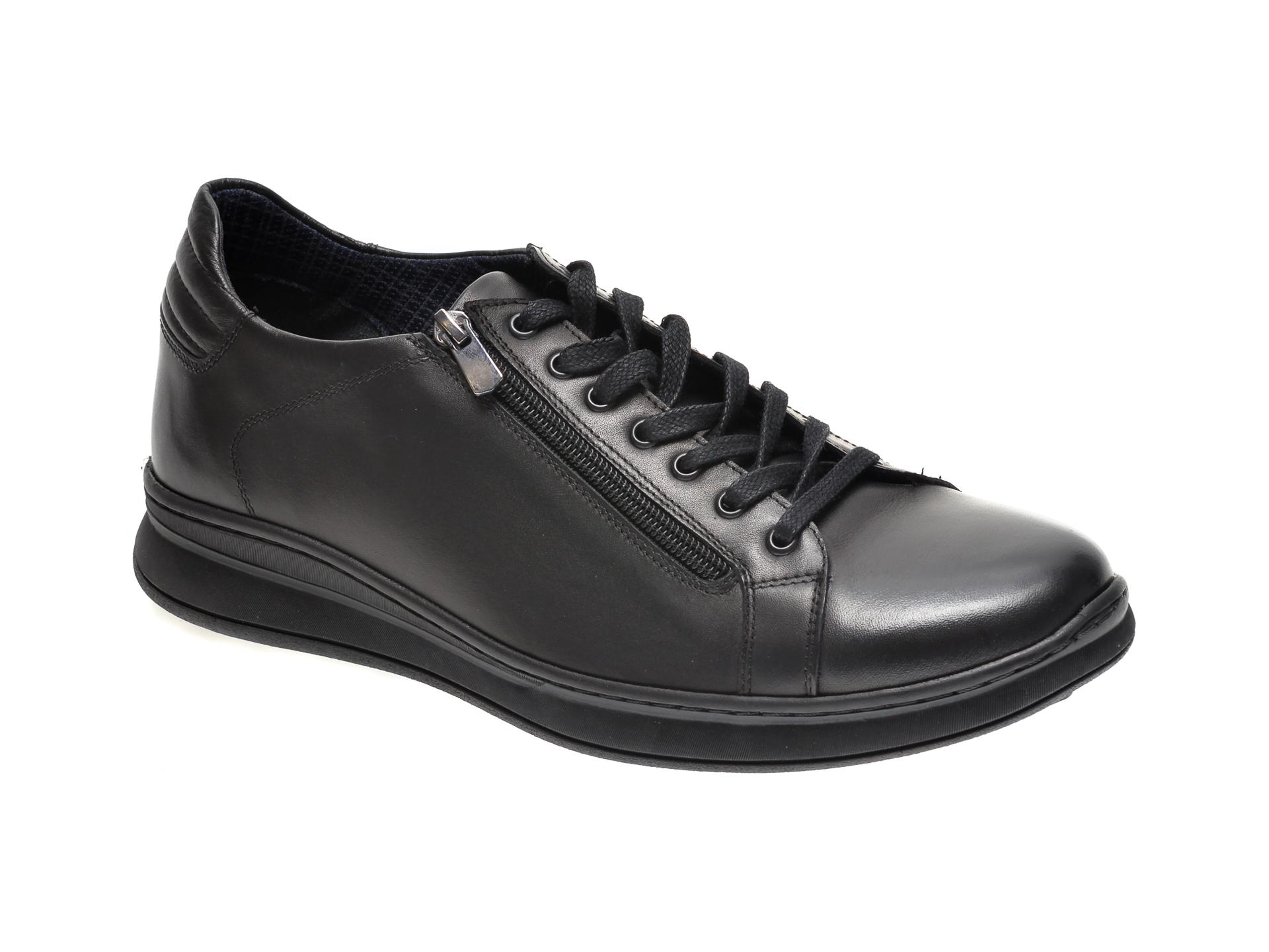 Pantofi OTTER negri, OT01, din piele naturala imagine