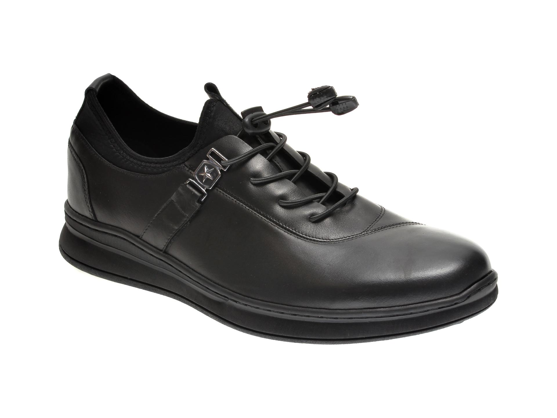 Pantofi OTTER negri, OT02, din piele naturala