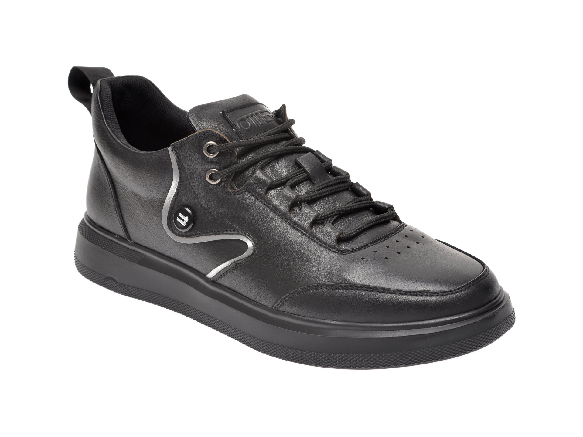 Pantofi OTTER negri, S076101, din piele naturala imagine