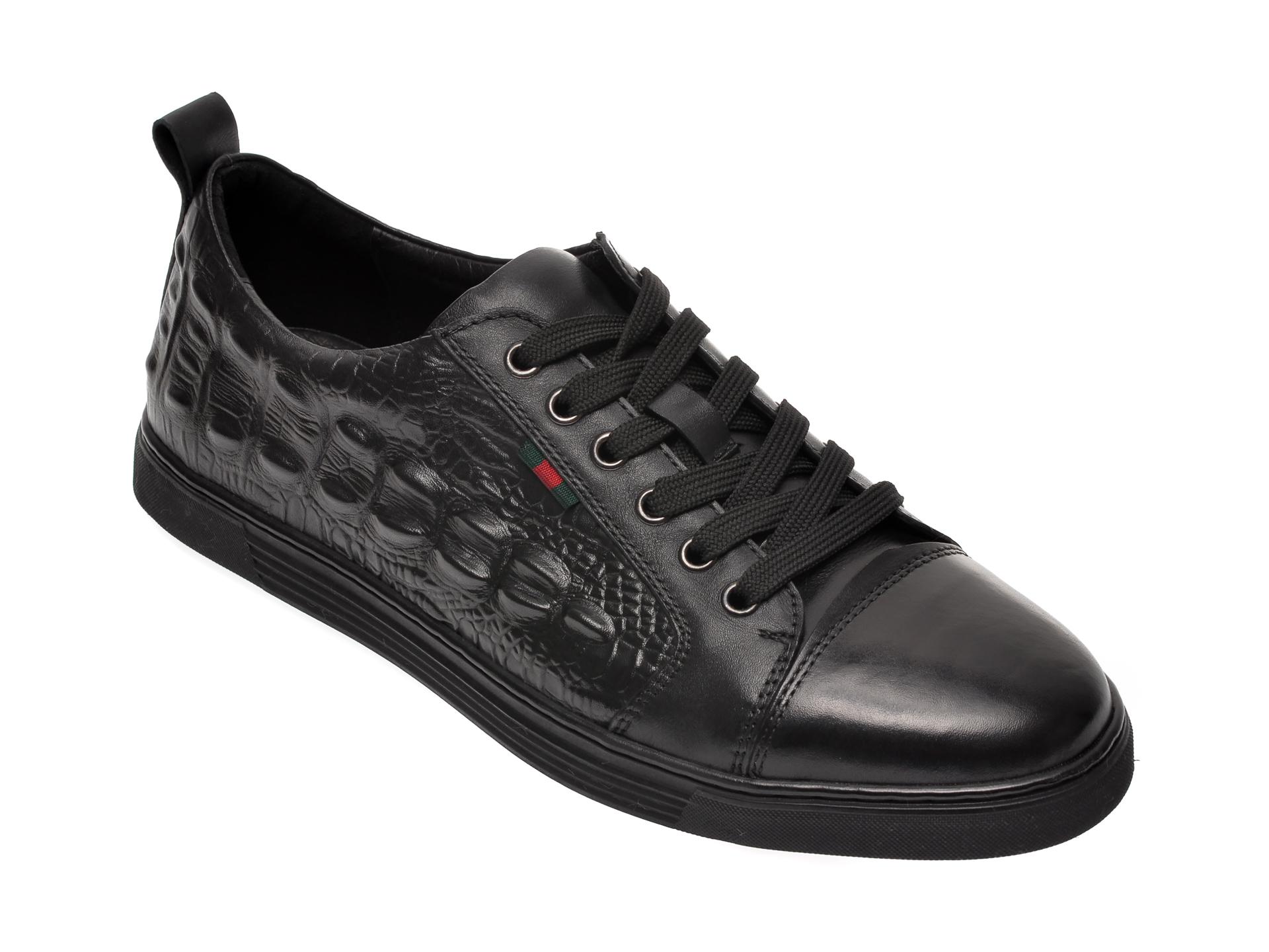 Pantofi OTTER negri, S076161, din piele naturala imagine