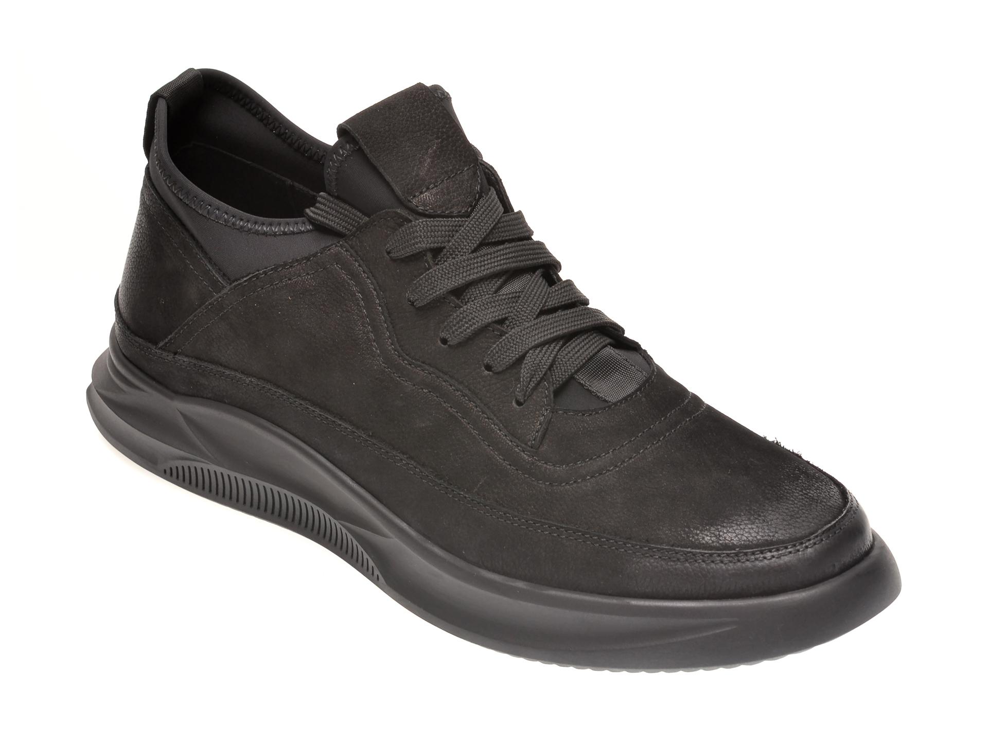 Pantofi OTTER negri, S076592, din nabuc imagine
