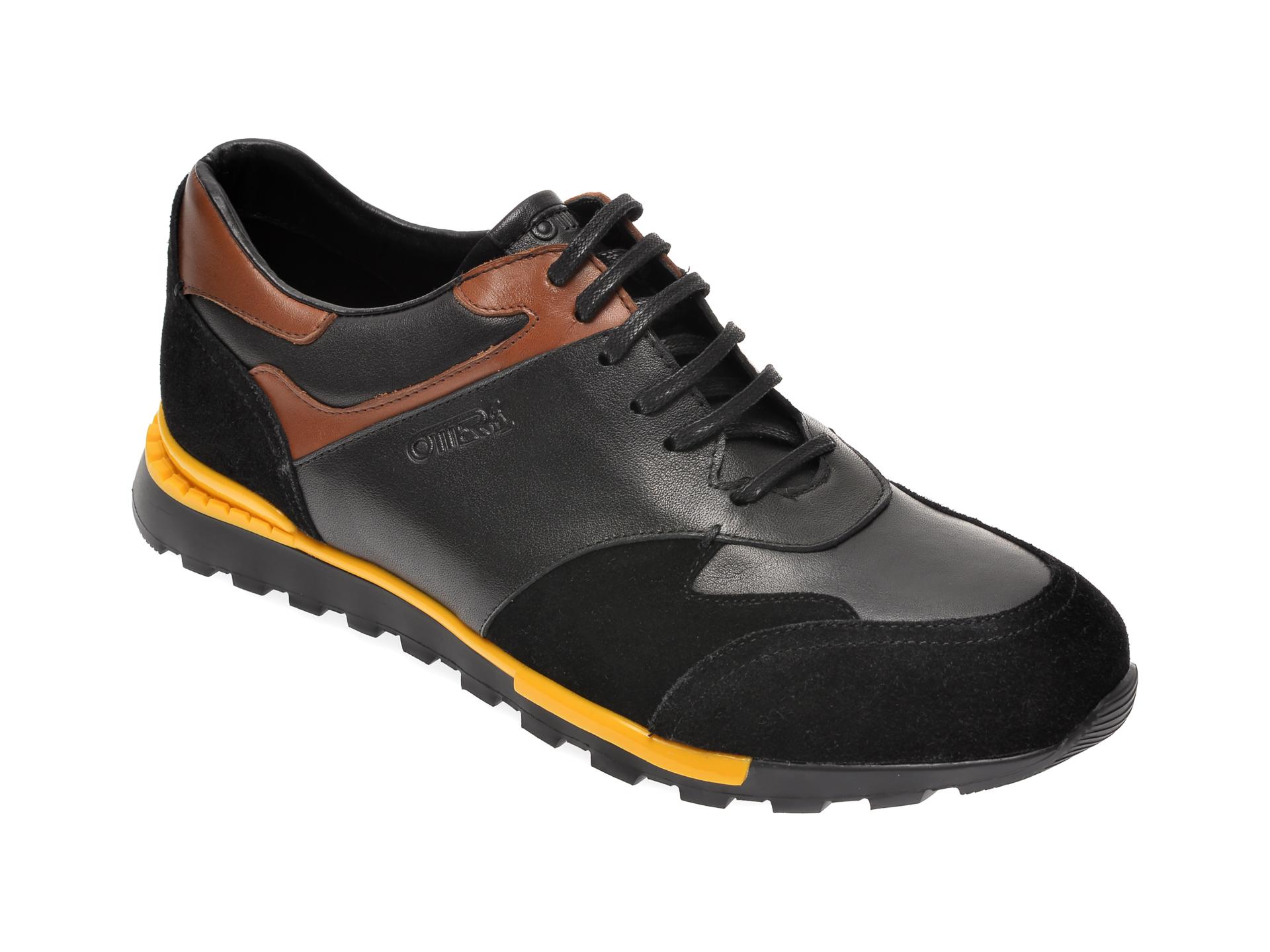 Pantofi OTTER negri, S421447, din piele naturala si piele intoarsa
