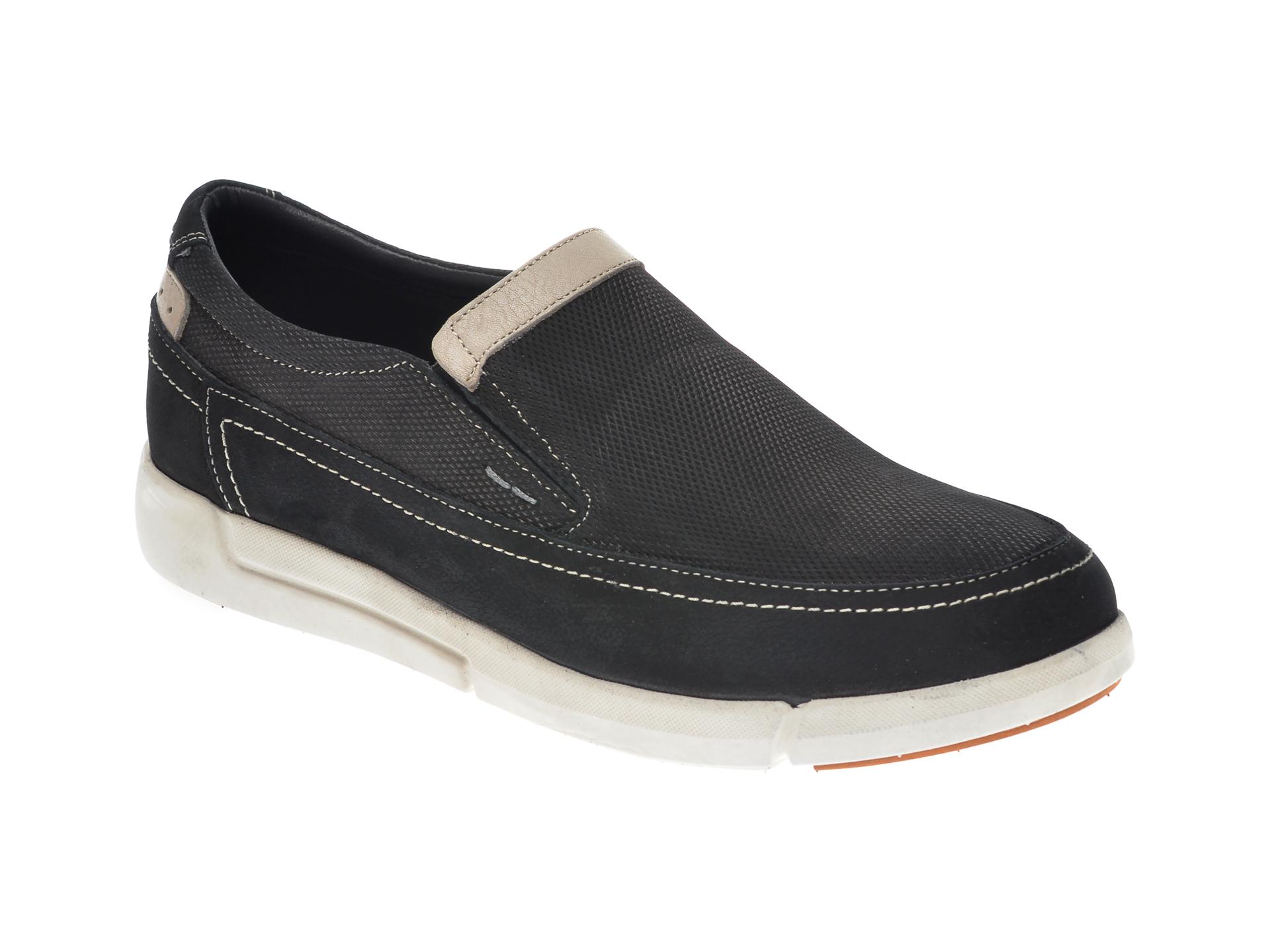 Pantofi OTTER negri, SF4014, din nabuc New