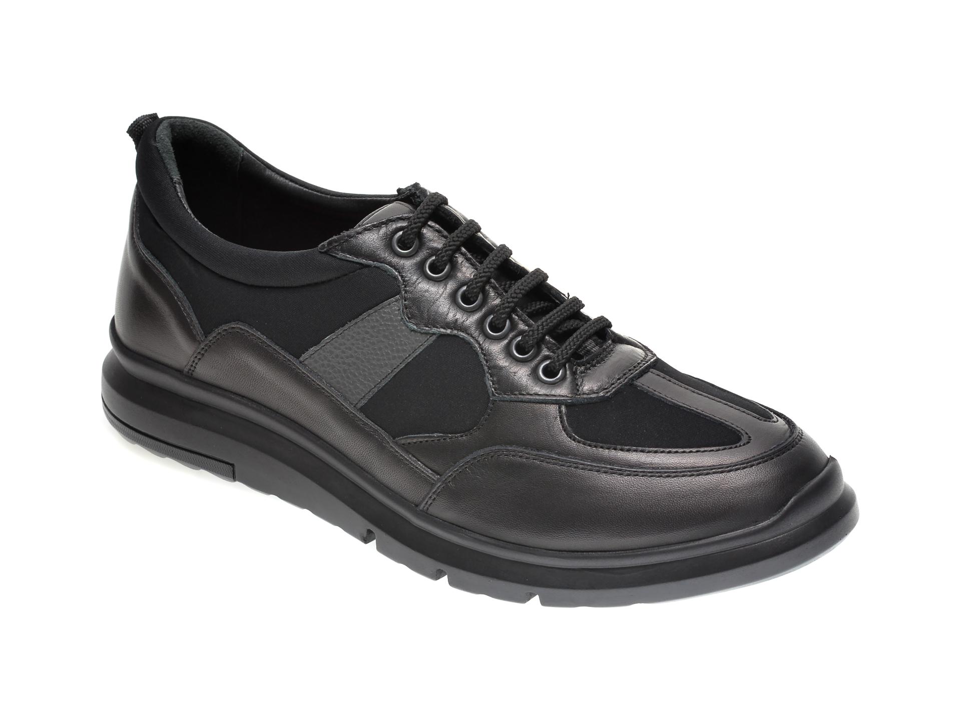 Pantofi OTTER negri, TTP43, din material textil si piele naturala imagine