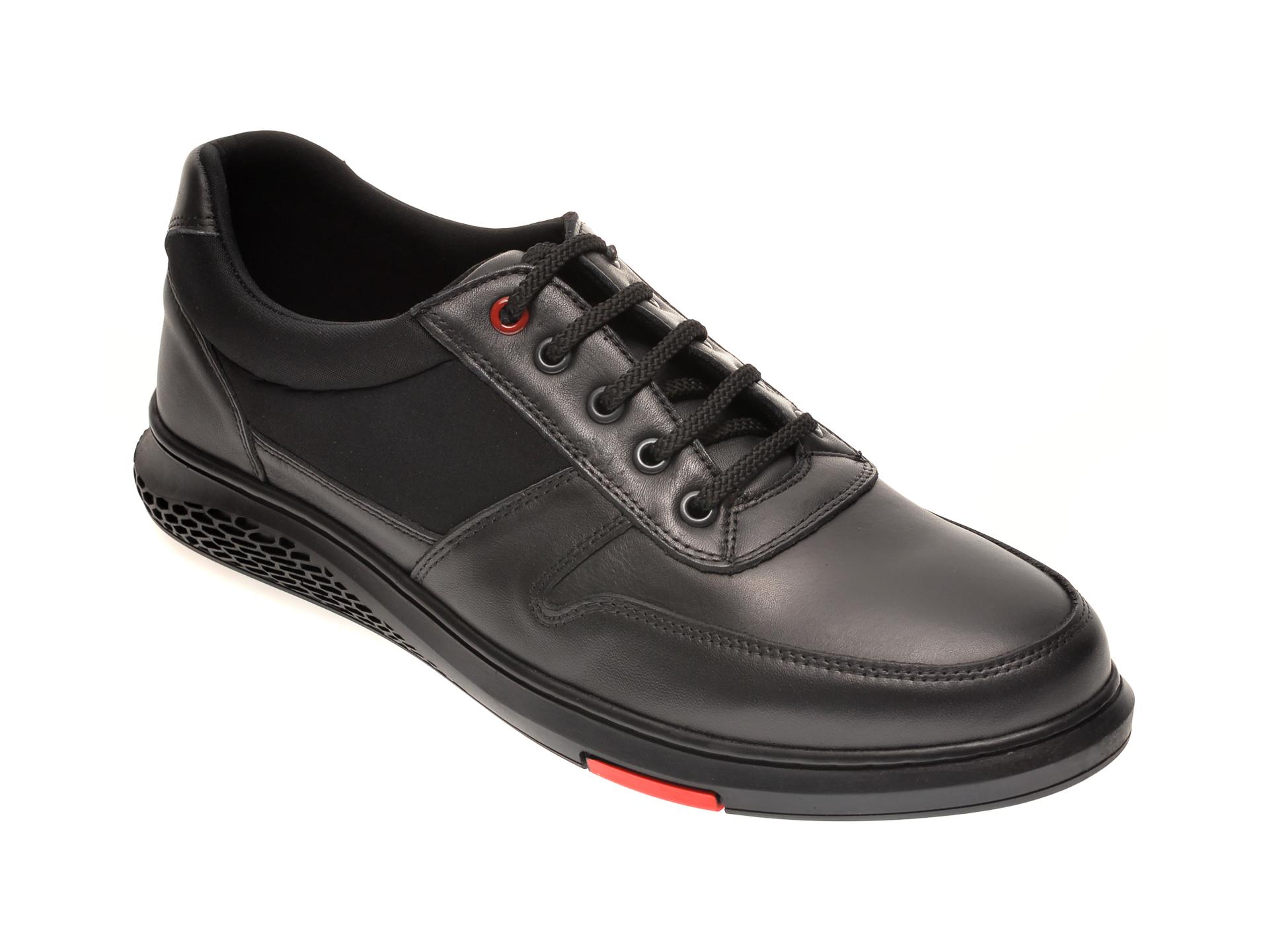 Pantofi OTTER negri, TUNA2, din material textil si piele naturala imagine