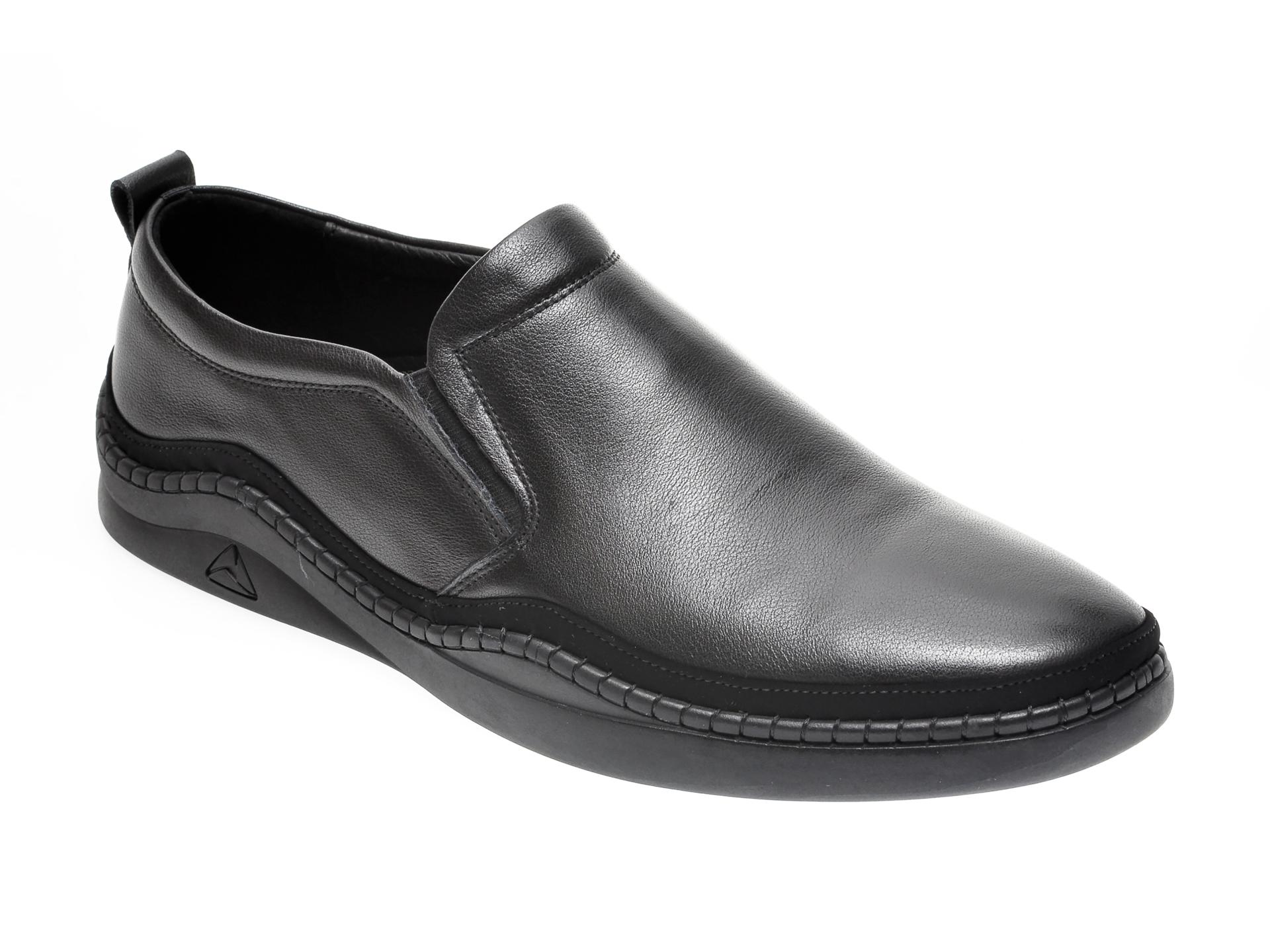 Pantofi OTTER negri, YD01206, din piele naturala imagine