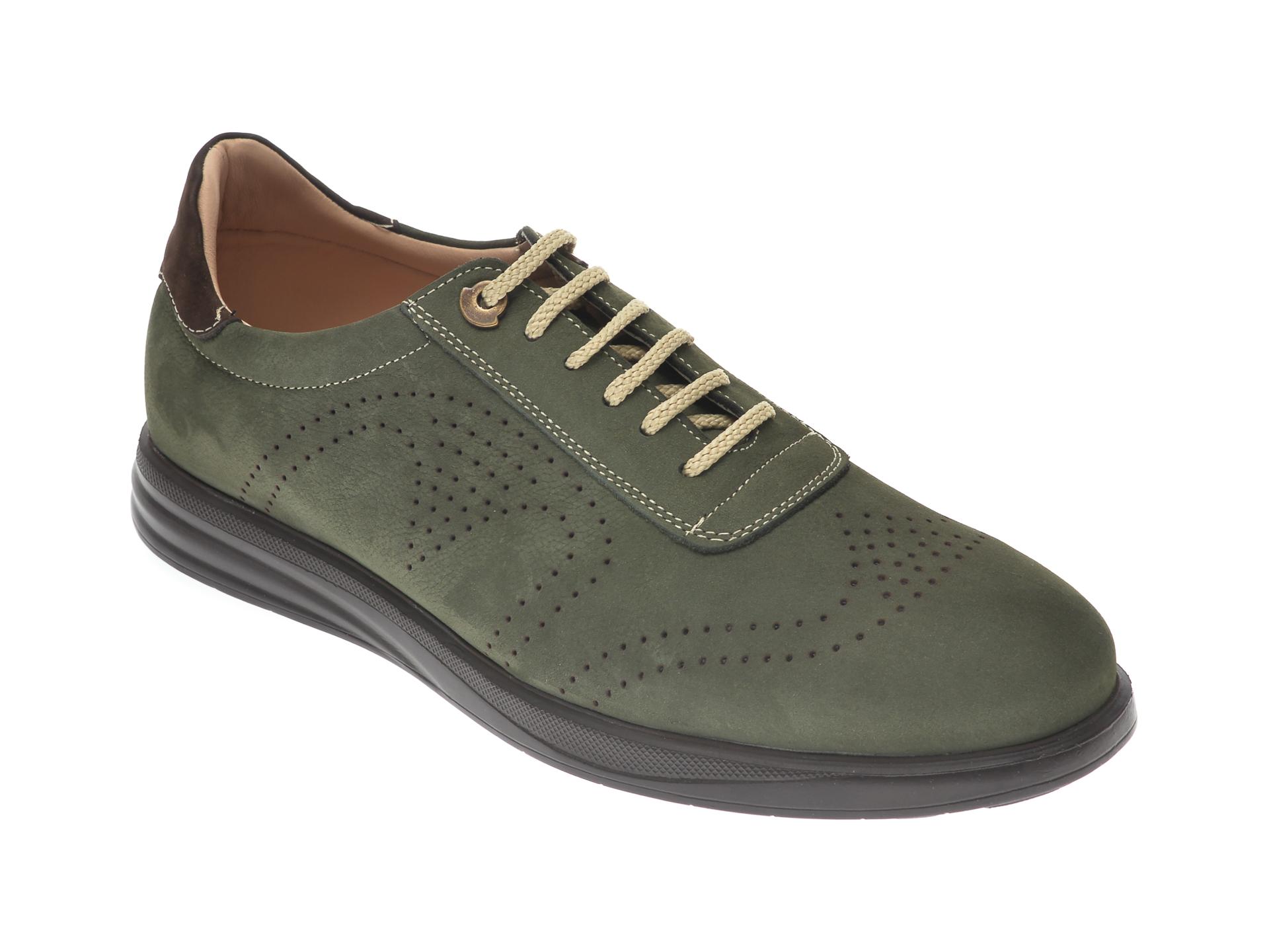Pantofi OTTER verzi, E881, din nabuc New