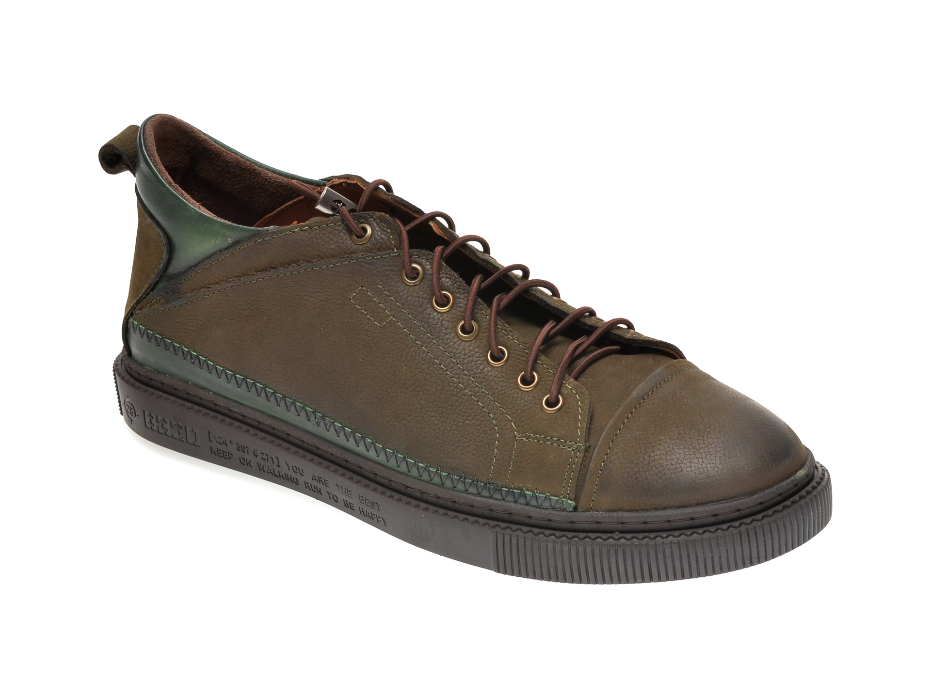 Pantofi OTTER verzi, M5746, din nabuc imagine