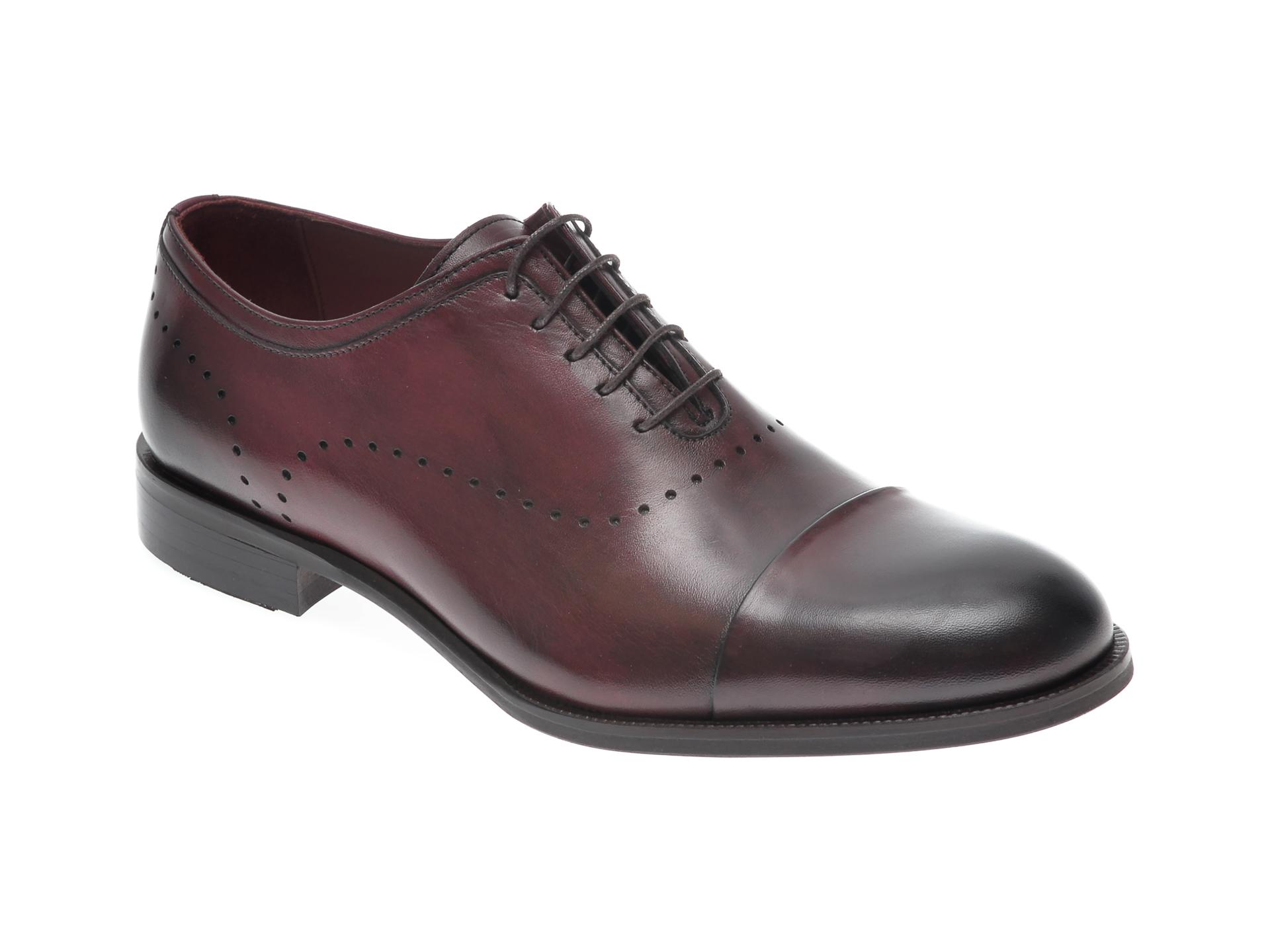 Pantofi OTTER visinii, 7844, din piele naturala imagine